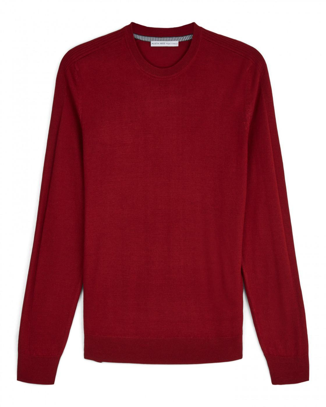 Crew Neck Knit With Rib Detail By Austin Reed Thread