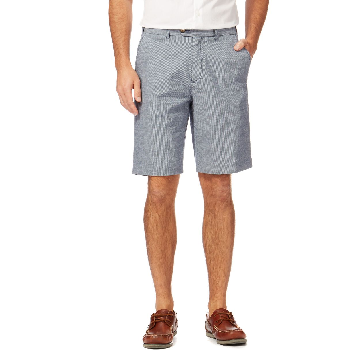 Maine New England Blue linen blend striped chino shorts