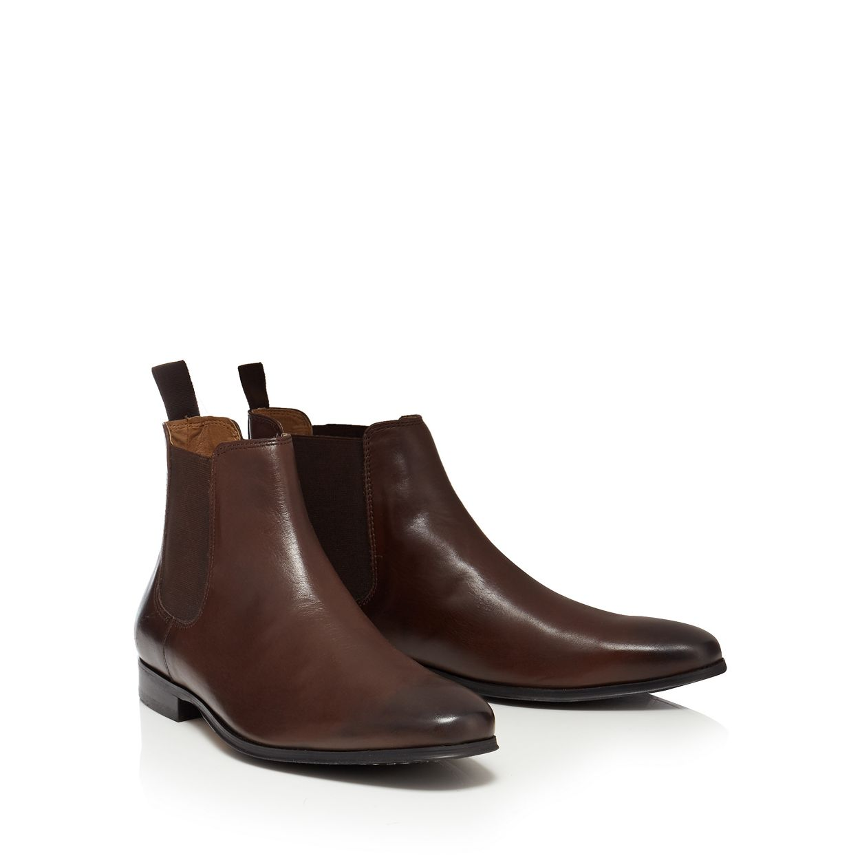 Red Herring Chocolate Dark brown leather 'Mars' Chelsea boots