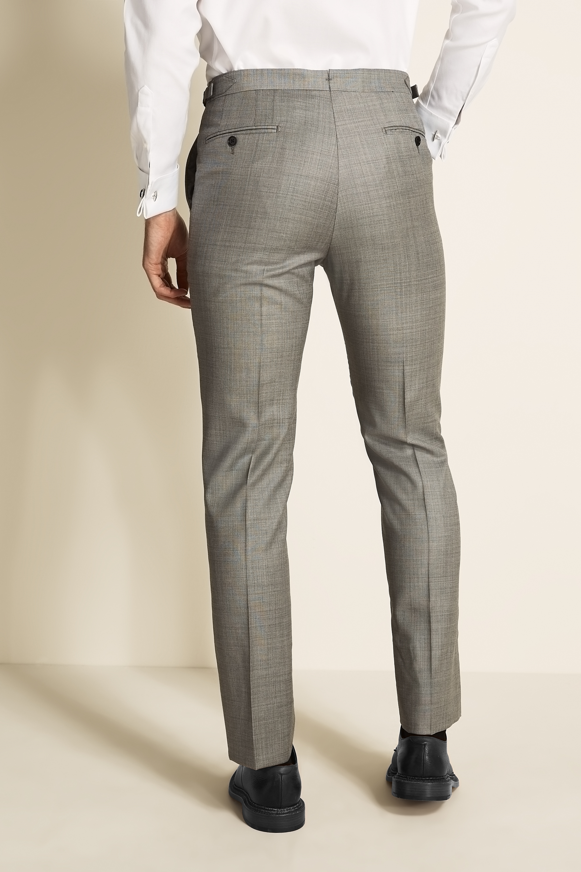 Covent Garden Tailored Fit Light Grey Sharkskin Trousers By Moss Bros Thread Com