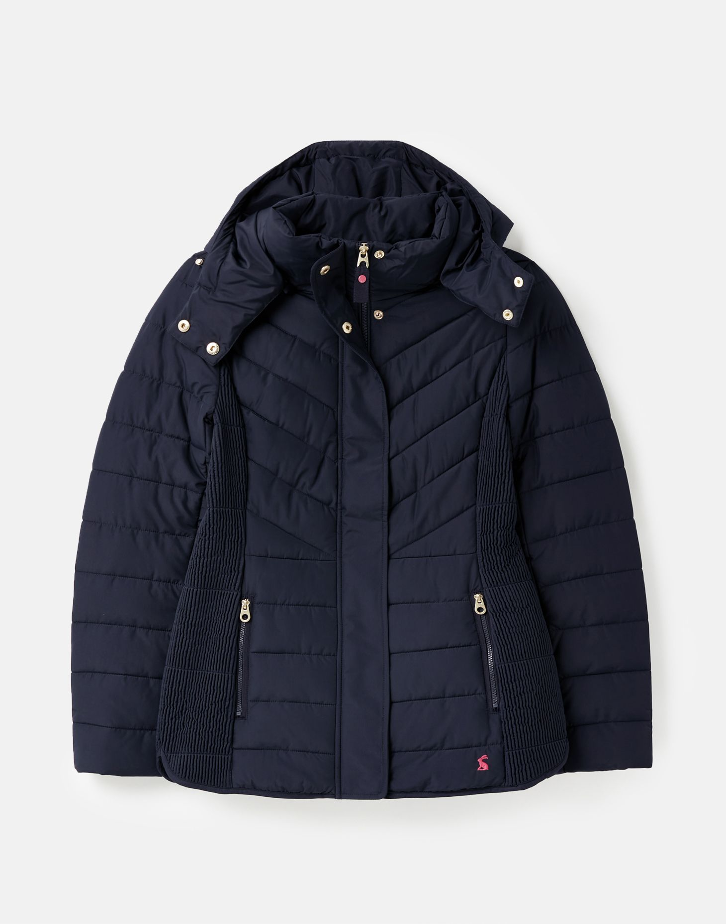 Joules Womens Hartington Padded Mid Length Coat With Hood Red