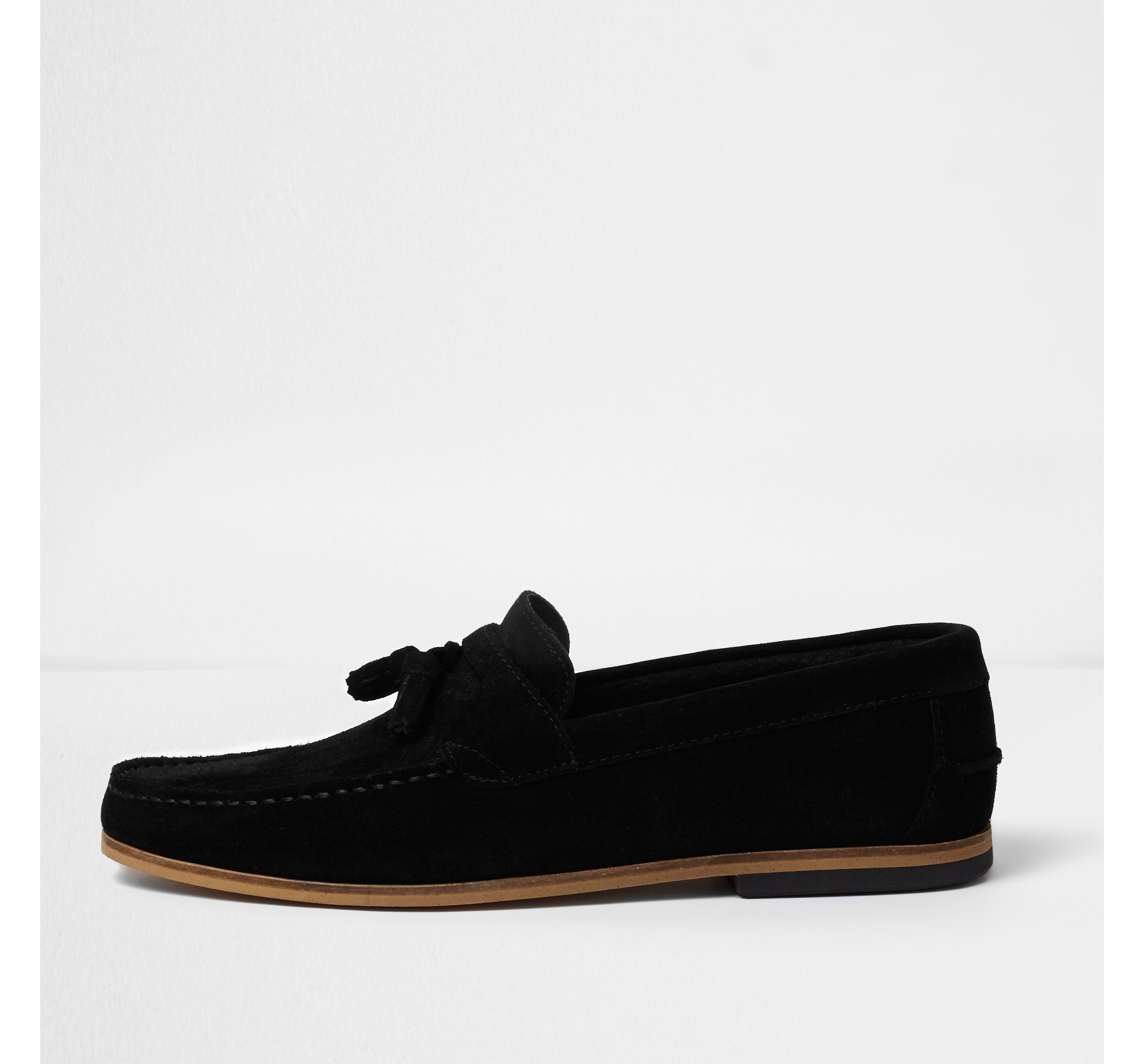 403734c44472c Mens Black suede tassel loafers by River ... — Thread