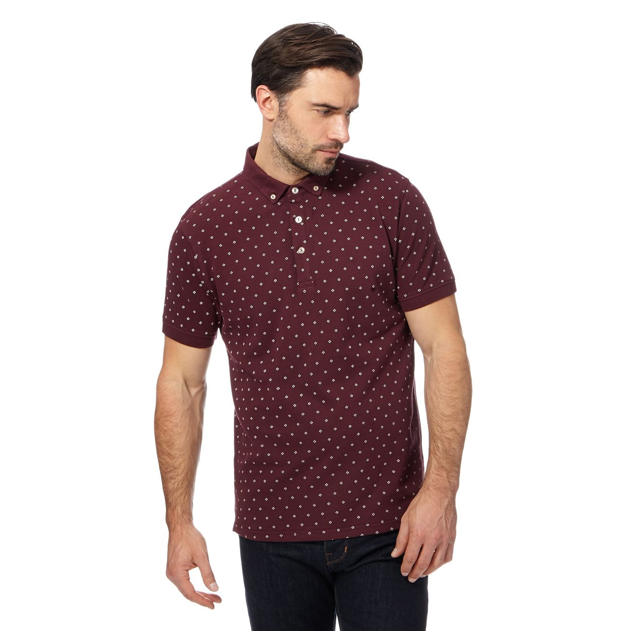 Hammond & Co. by Patrick Grant Wine Dark red floral embroidered polo shirt