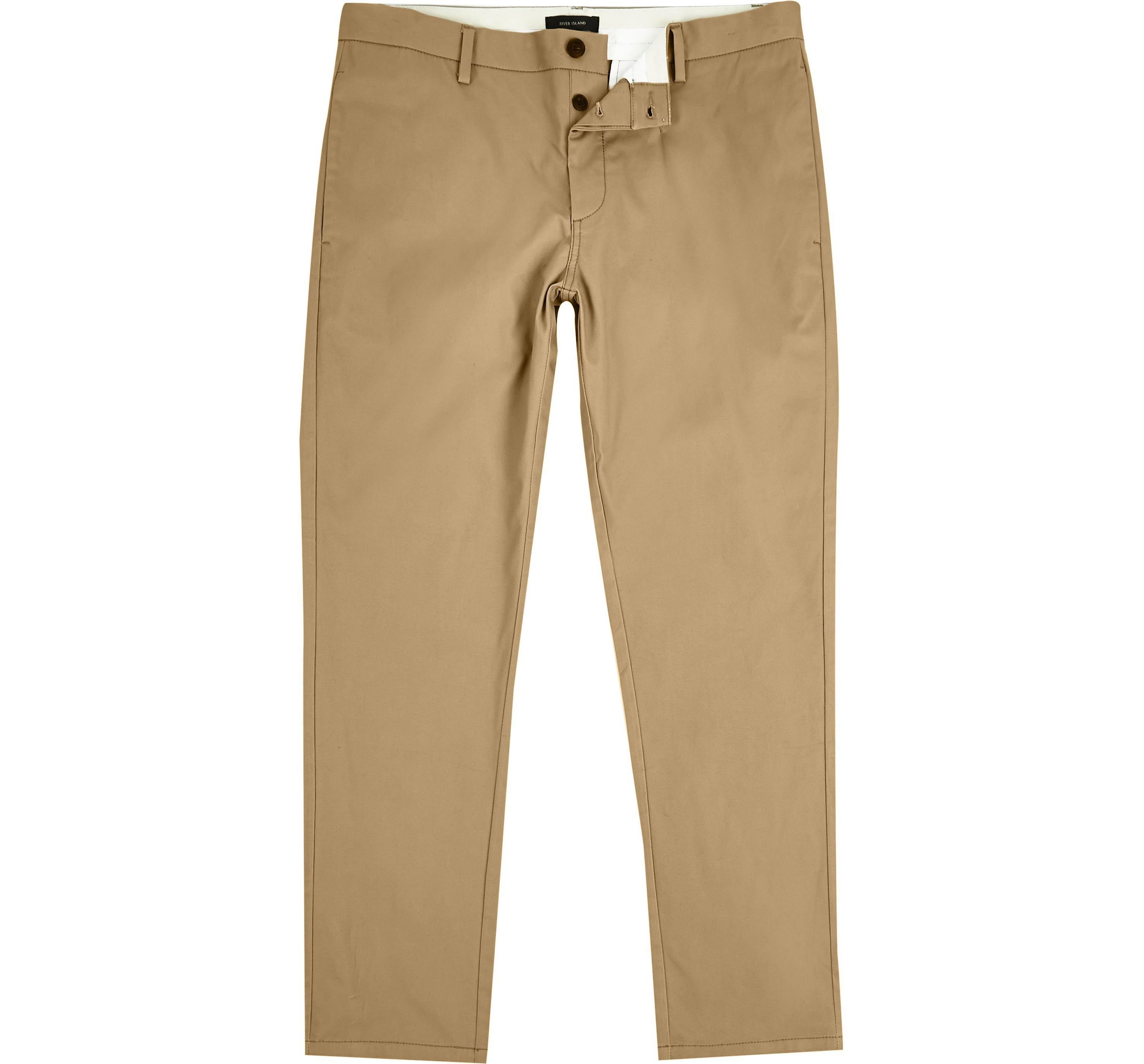 River Island Mens Tan stretch slim fit chino trousers
