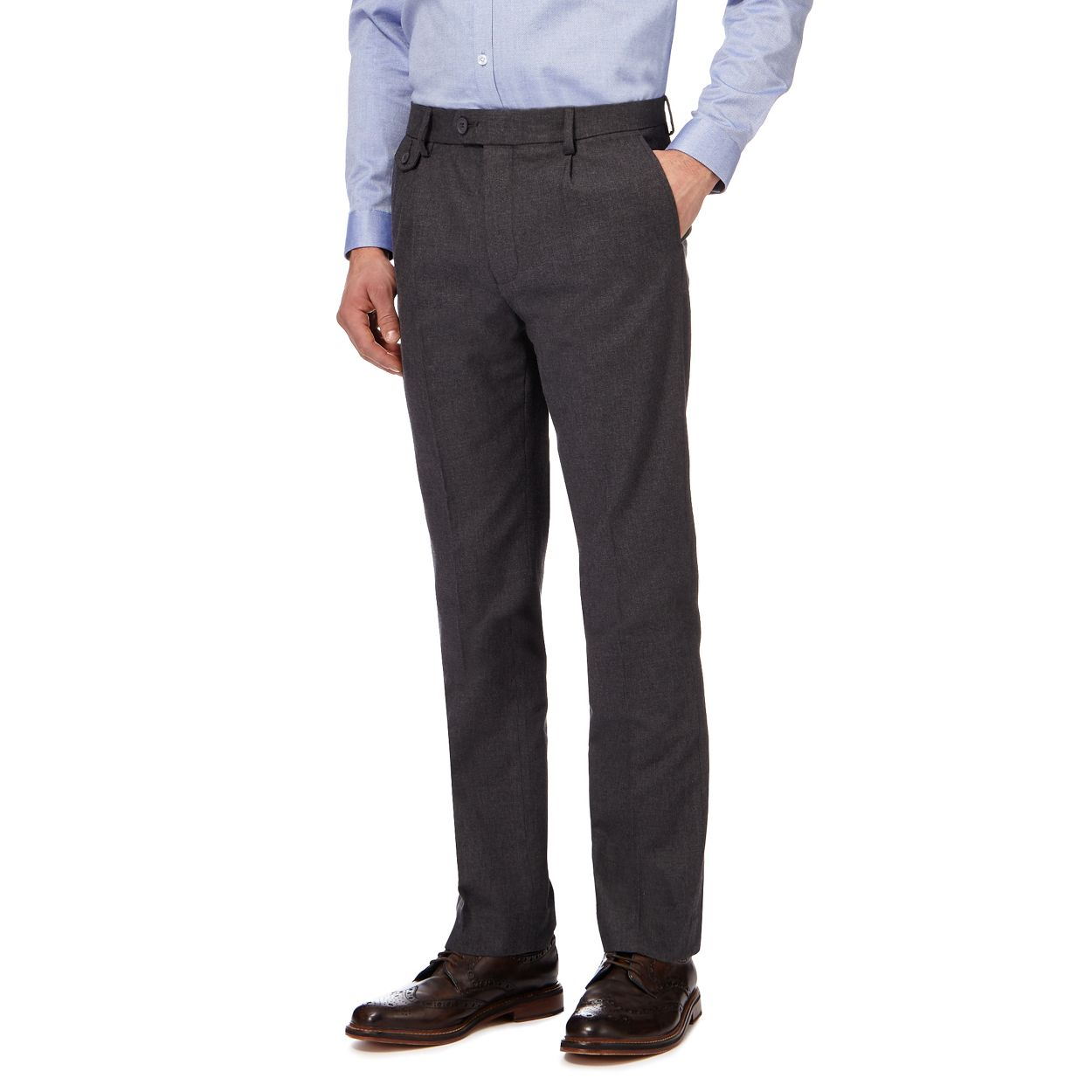 Hammond & Co. by Patrick Grant Grey textured tailored fit trousers