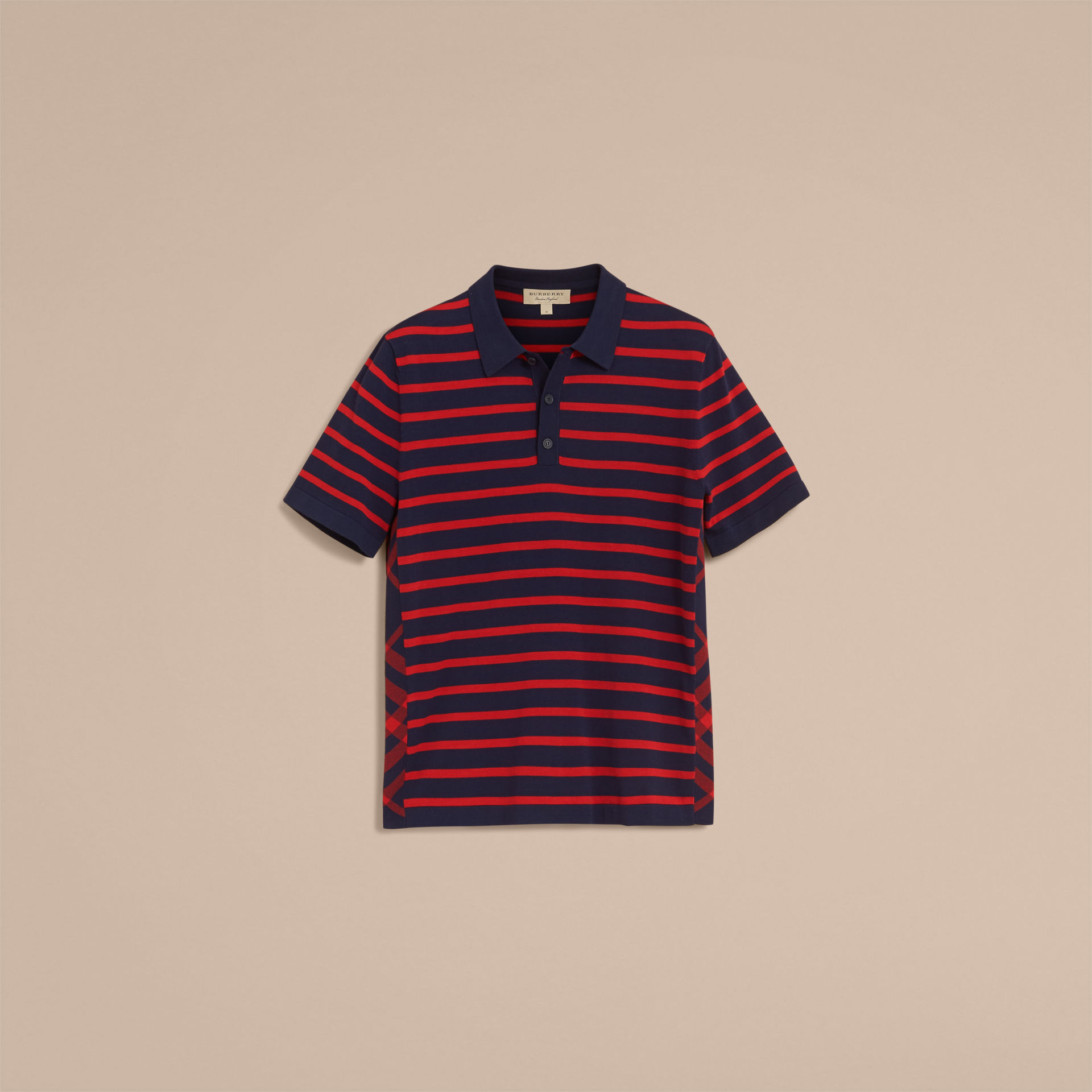 Burberry Navy Breton Stripe Cotton Polo Shirt