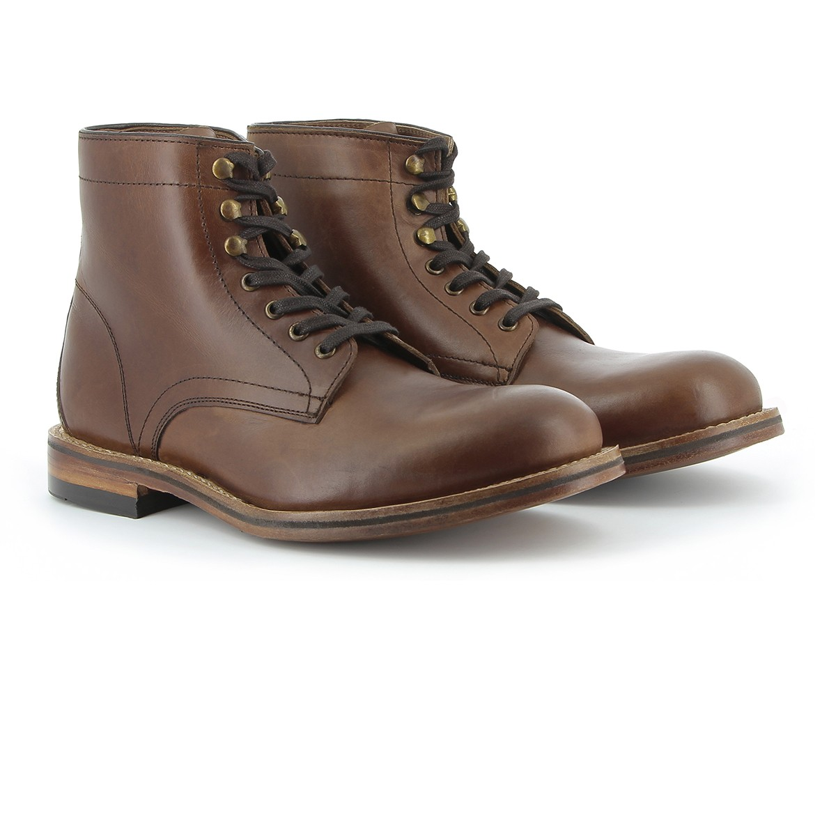 G.H. Bass & Co. Monogram Lace Pull Up Boot Dark Brown Leather