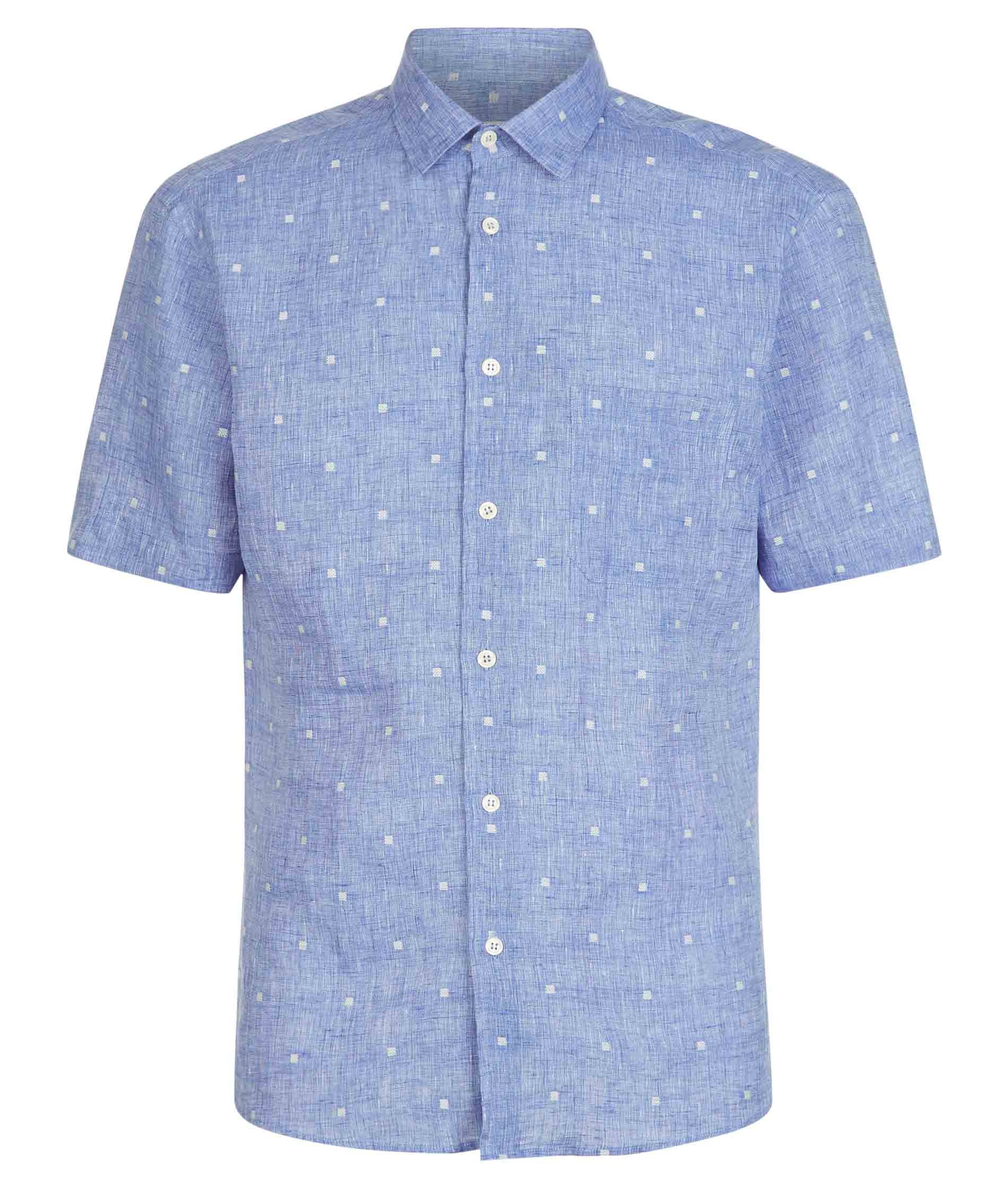 Nigel Hall Blue Texture Dot Short Sleeve Shirt (Shelter)