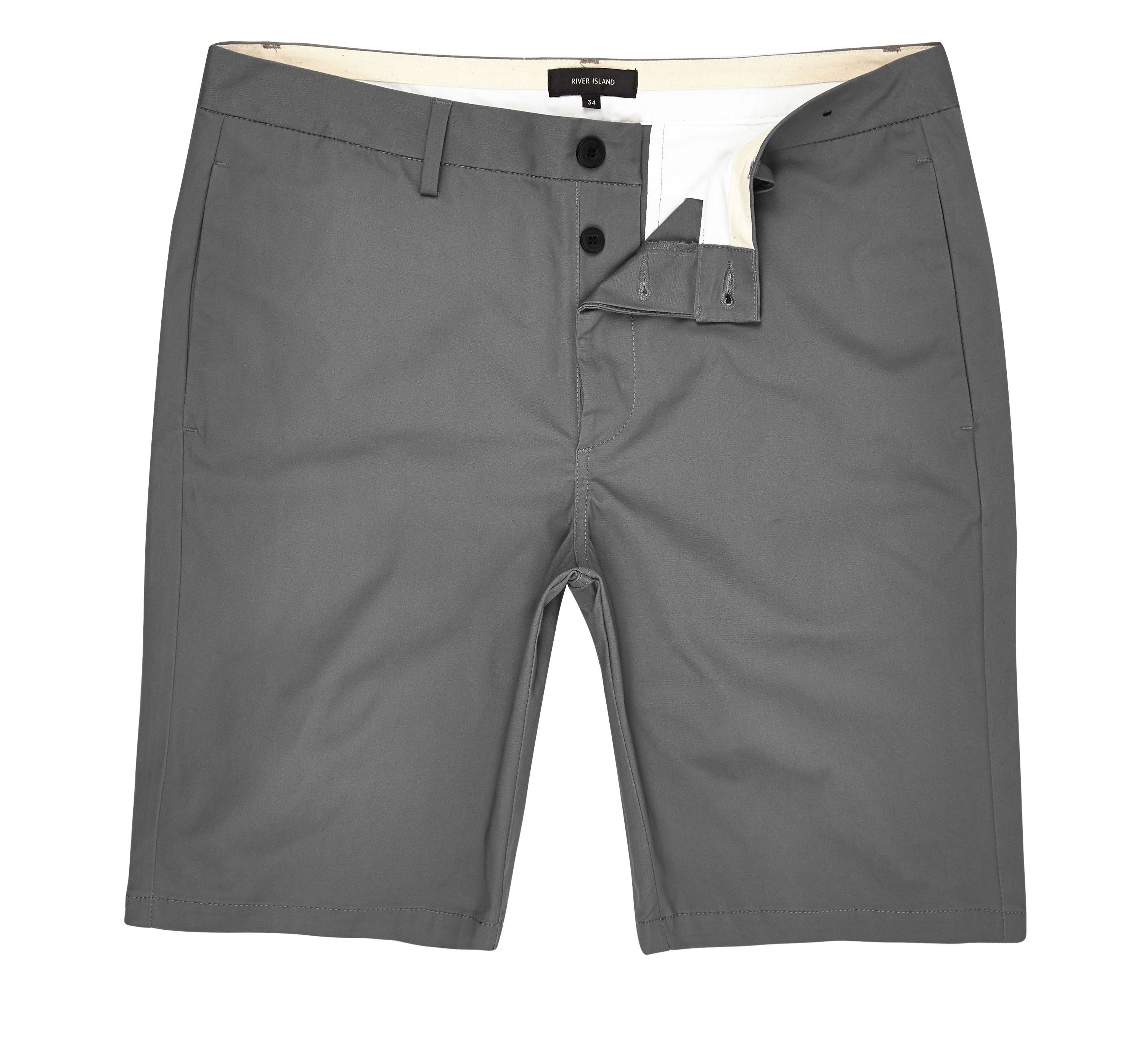 River Island Mens Grey slim fit chino shorts