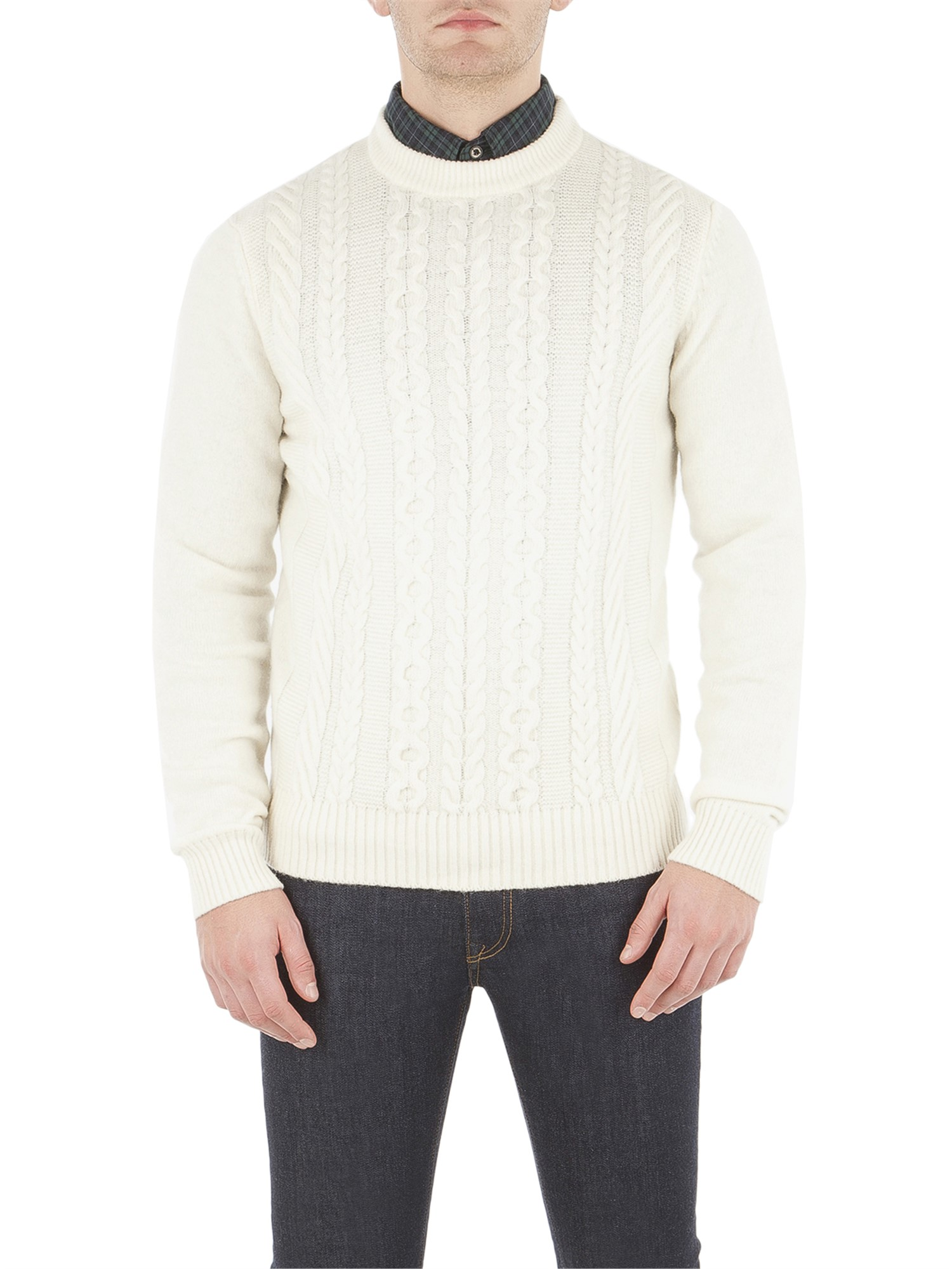 Ben Sherman Off White Cable Front Jumper