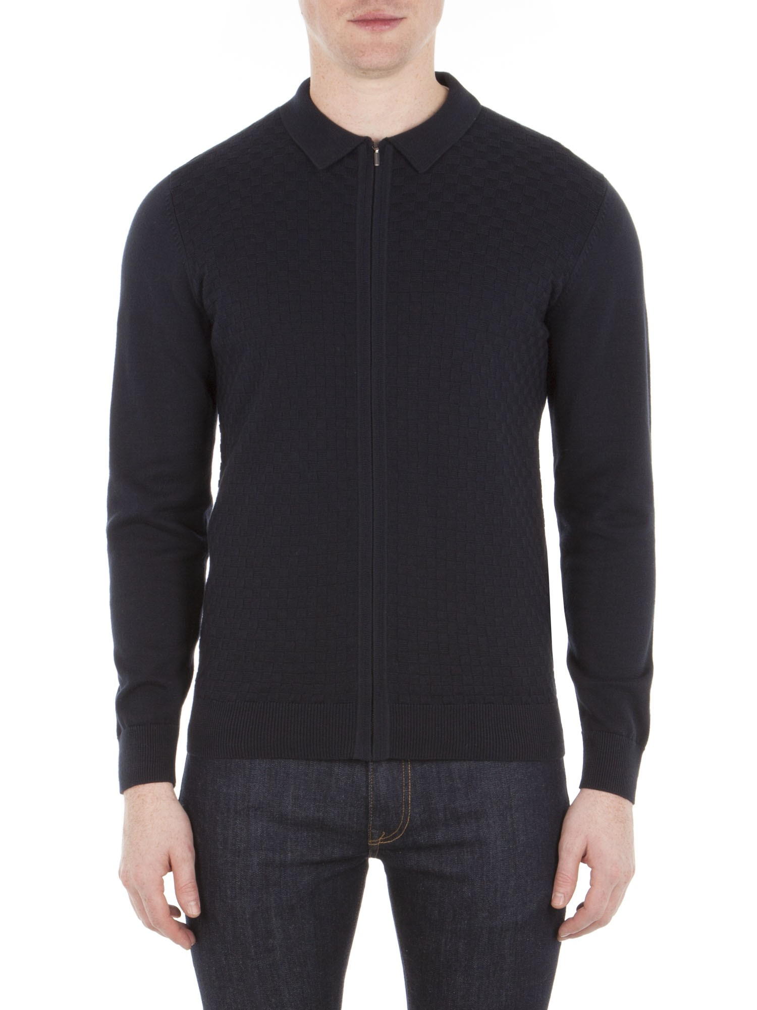 Ben Sherman Navy Chequerboard Milano Zip Through Polo