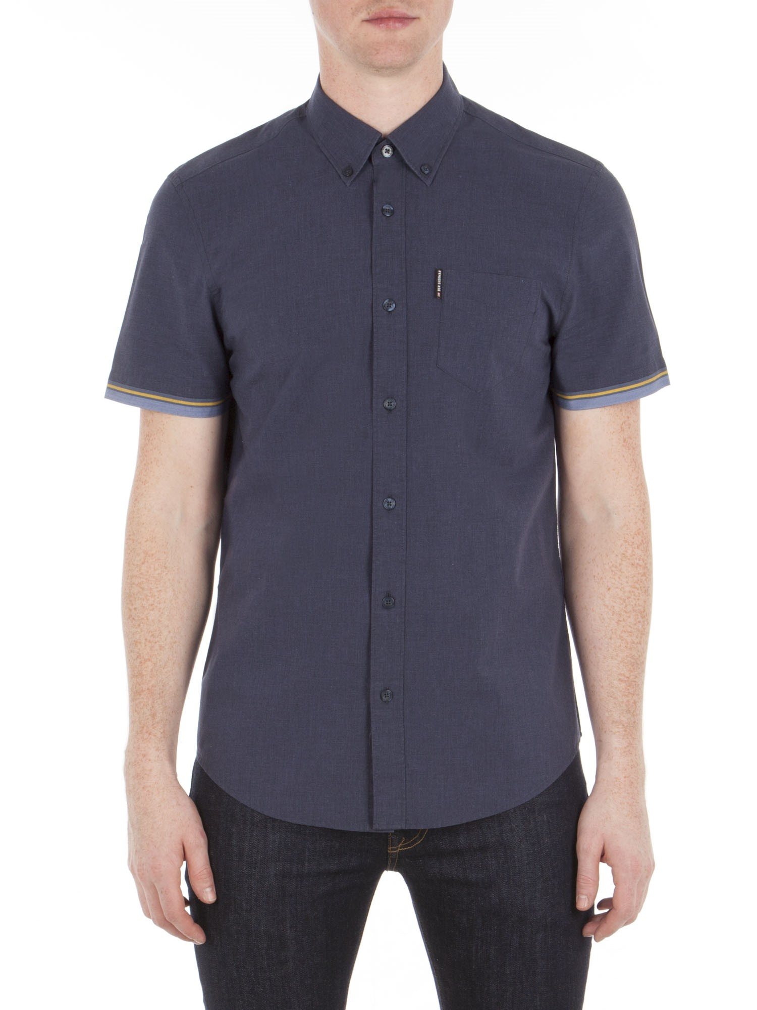 Ben Sherman True Indigo Short Sleeve Marl Tipped Shirt Regular Fit (Mod Fit)
