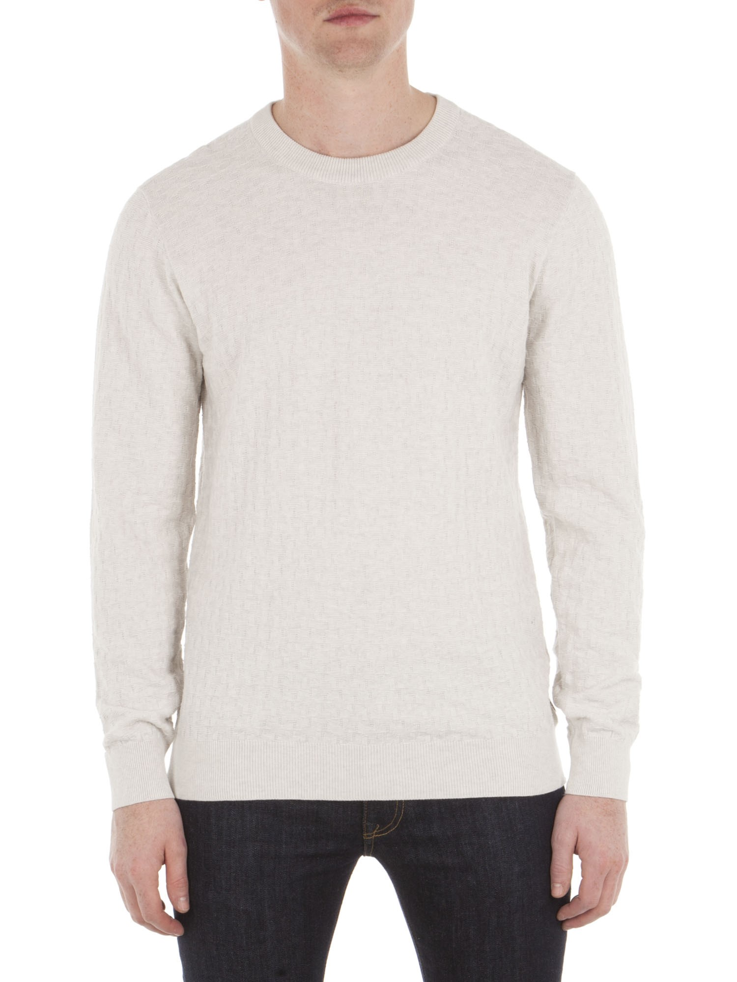 Ben Sherman Off White Textured Knitted Crew Neck Jumper