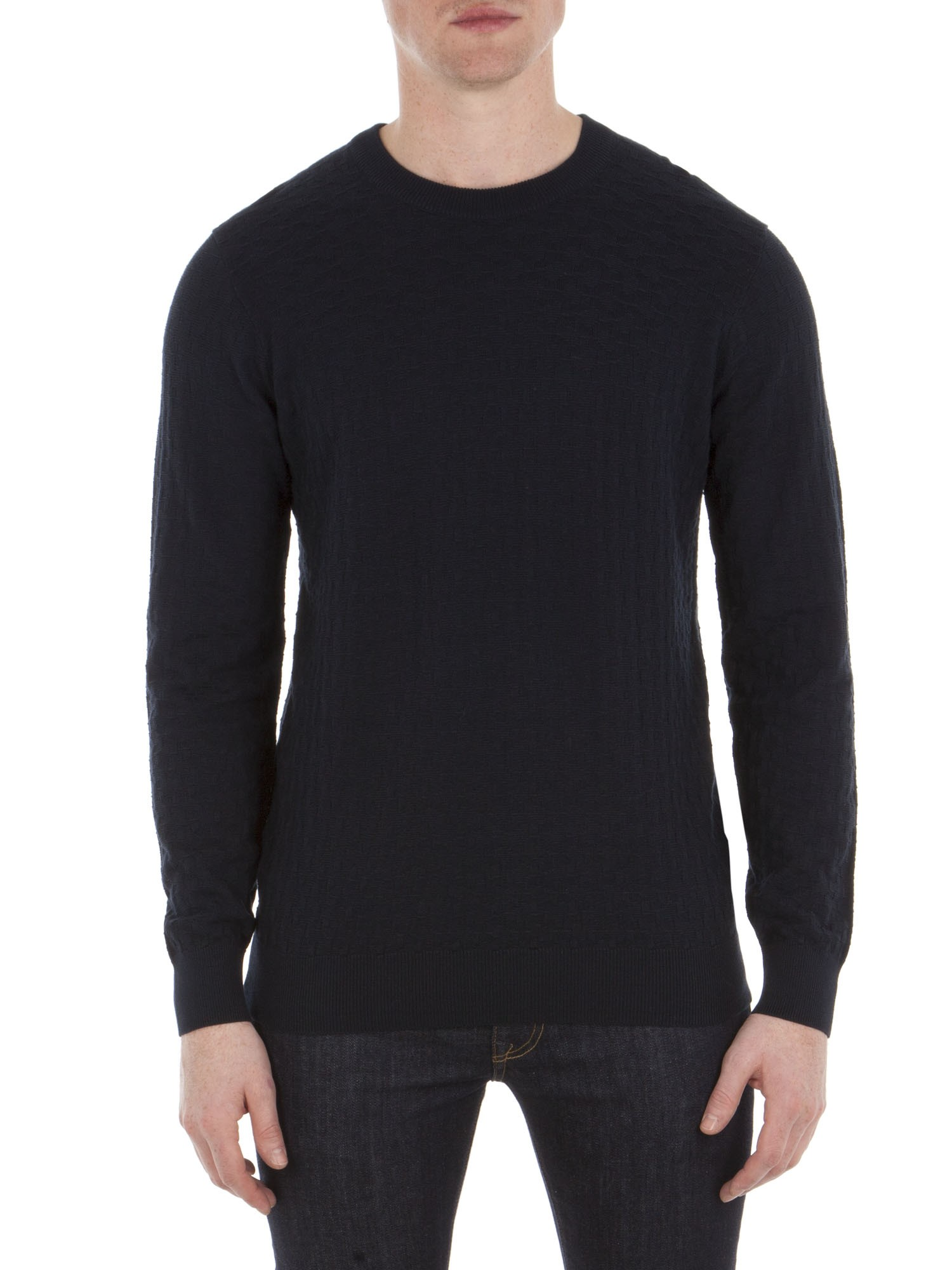 Ben Sherman Staples Blue Textured Knitted Crew Neck Jumper