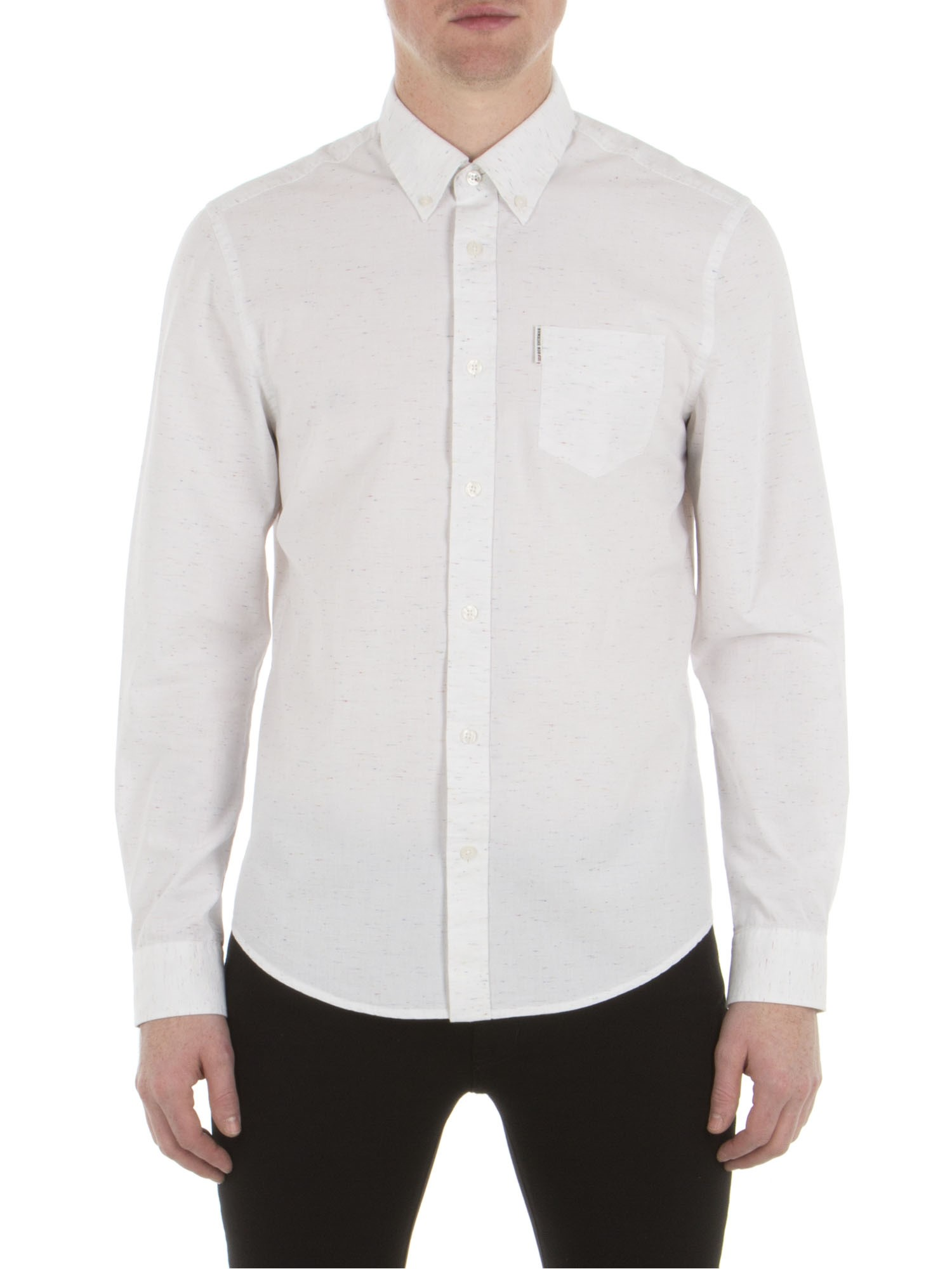 Ben Sherman Bright White Long Sleeve Heavy Nep Shirt Regular Fit (Mod Fit)