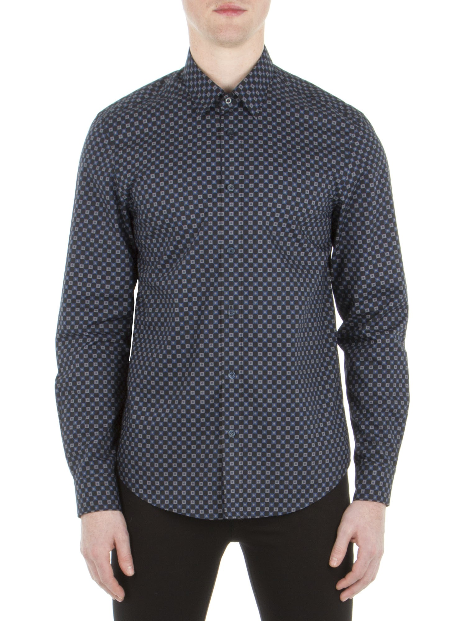 Ben Sherman Petrol Blue Long Sleeve Mod Check Party Shirt