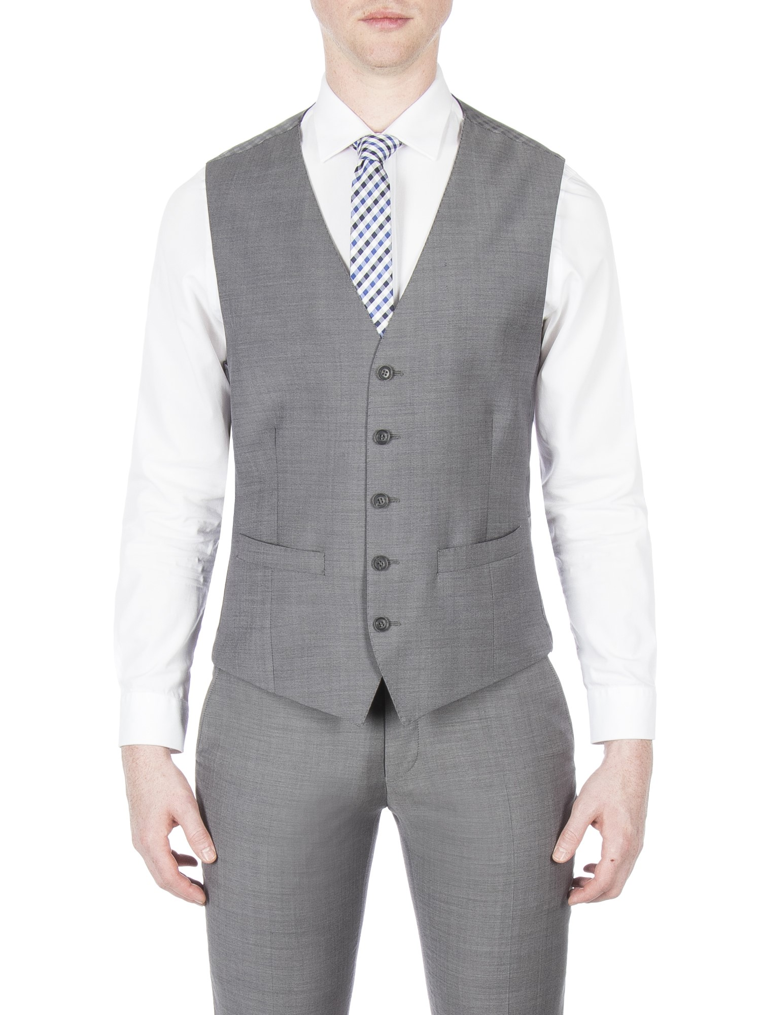 Ben Sherman Grey Smoked Pearl Tonic Wasticoat Slim Fit (Camden Fit)