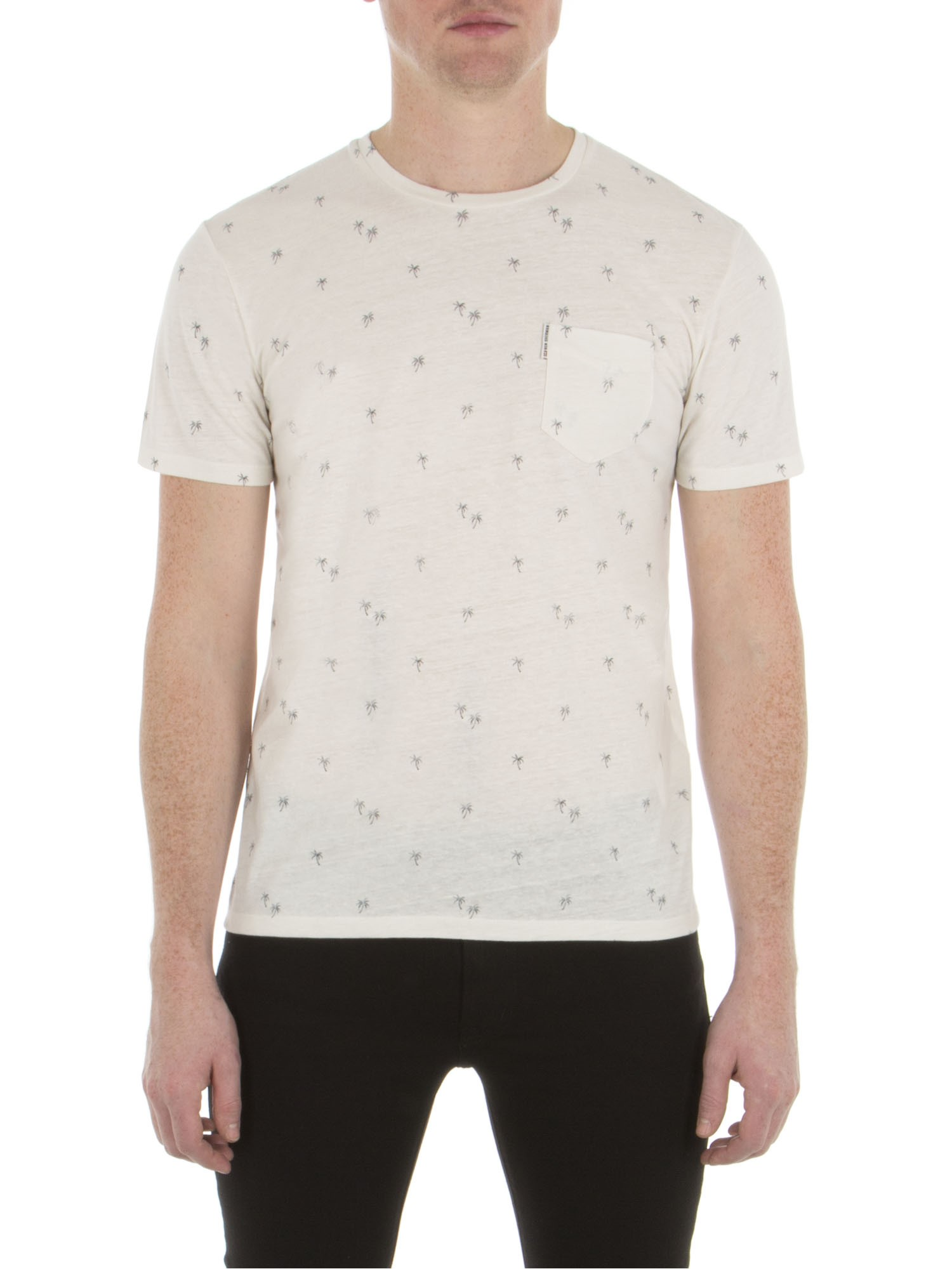 Ben Sherman Off White Palm Tree Print T-Shirt