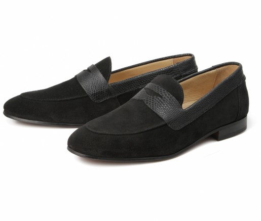 Hudson Shoes Follen Suede Black Loafer