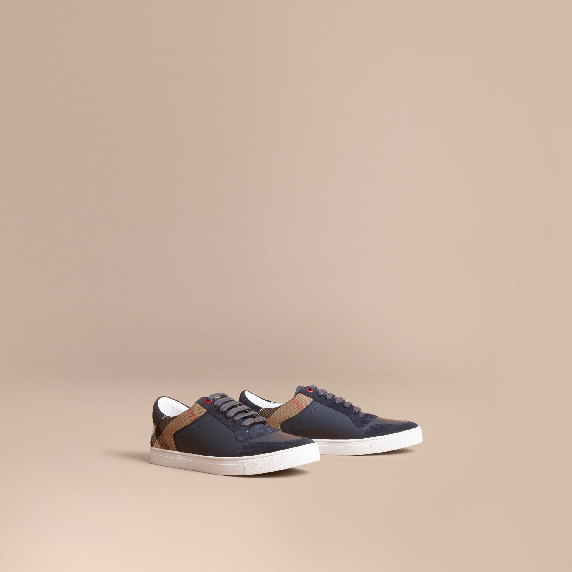 Burberry Navy Leather and House Check Trainers