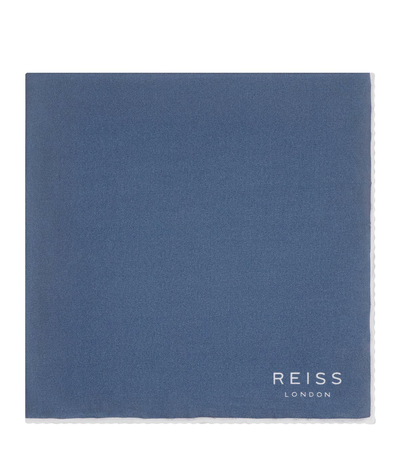 Reiss Airforceblue Horner Silk Piped Pocket Square
