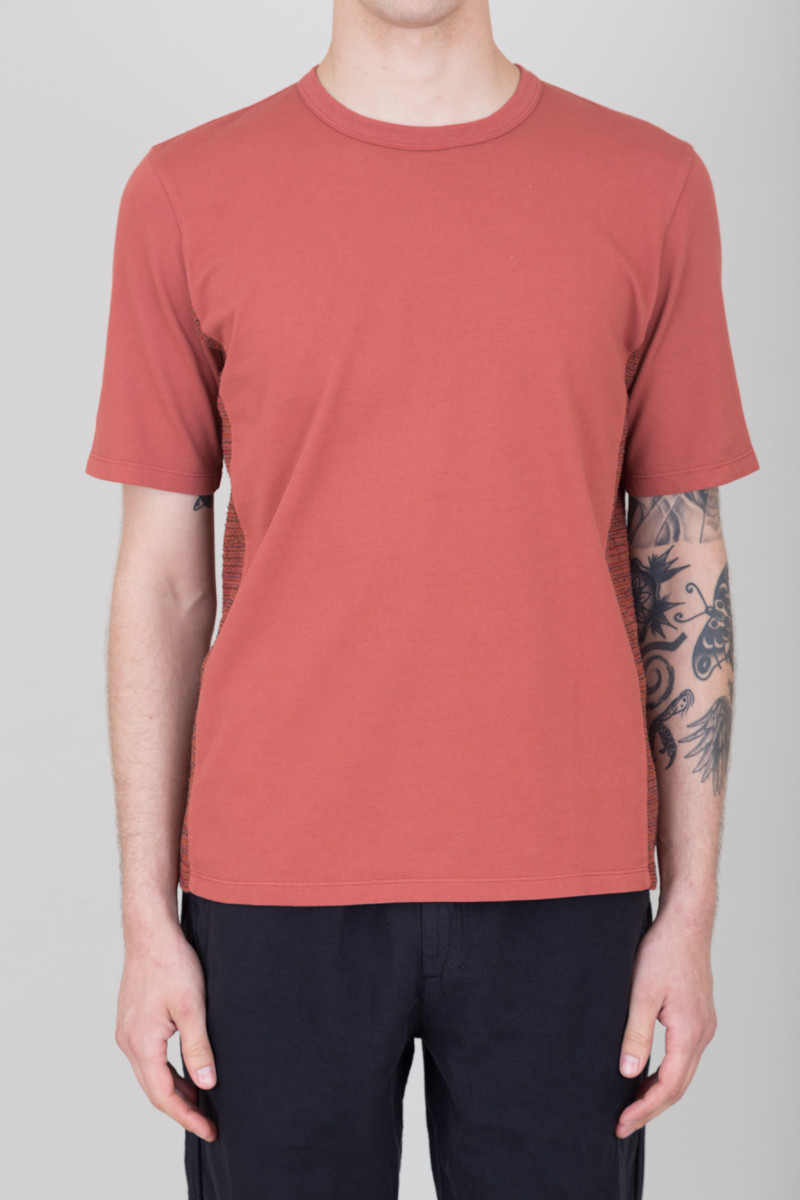 Folk Textured Panel Tee - Clay Red
