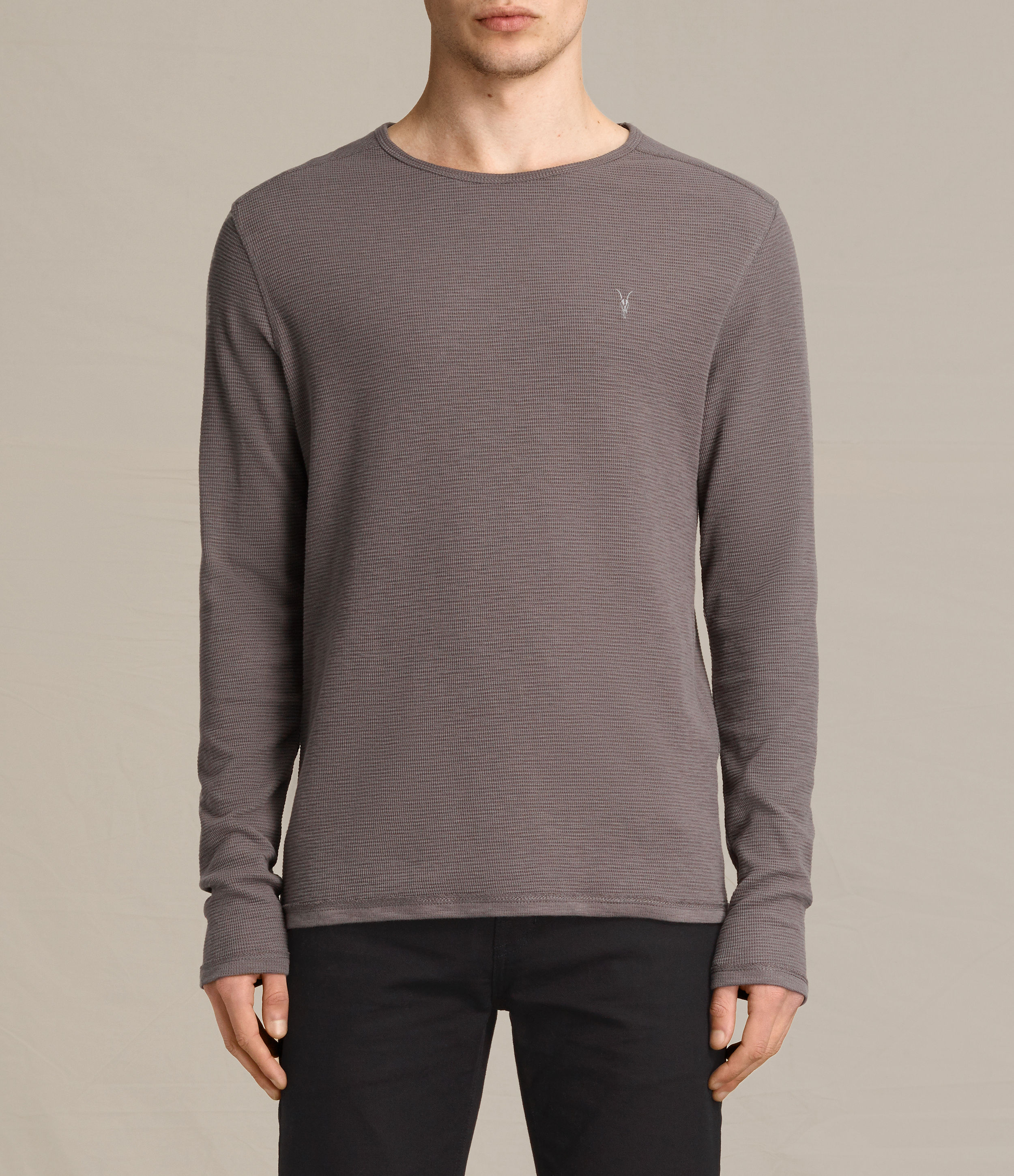 AllSaints Khaki Taupe Clash Long Sleeved Crew T-Shirt