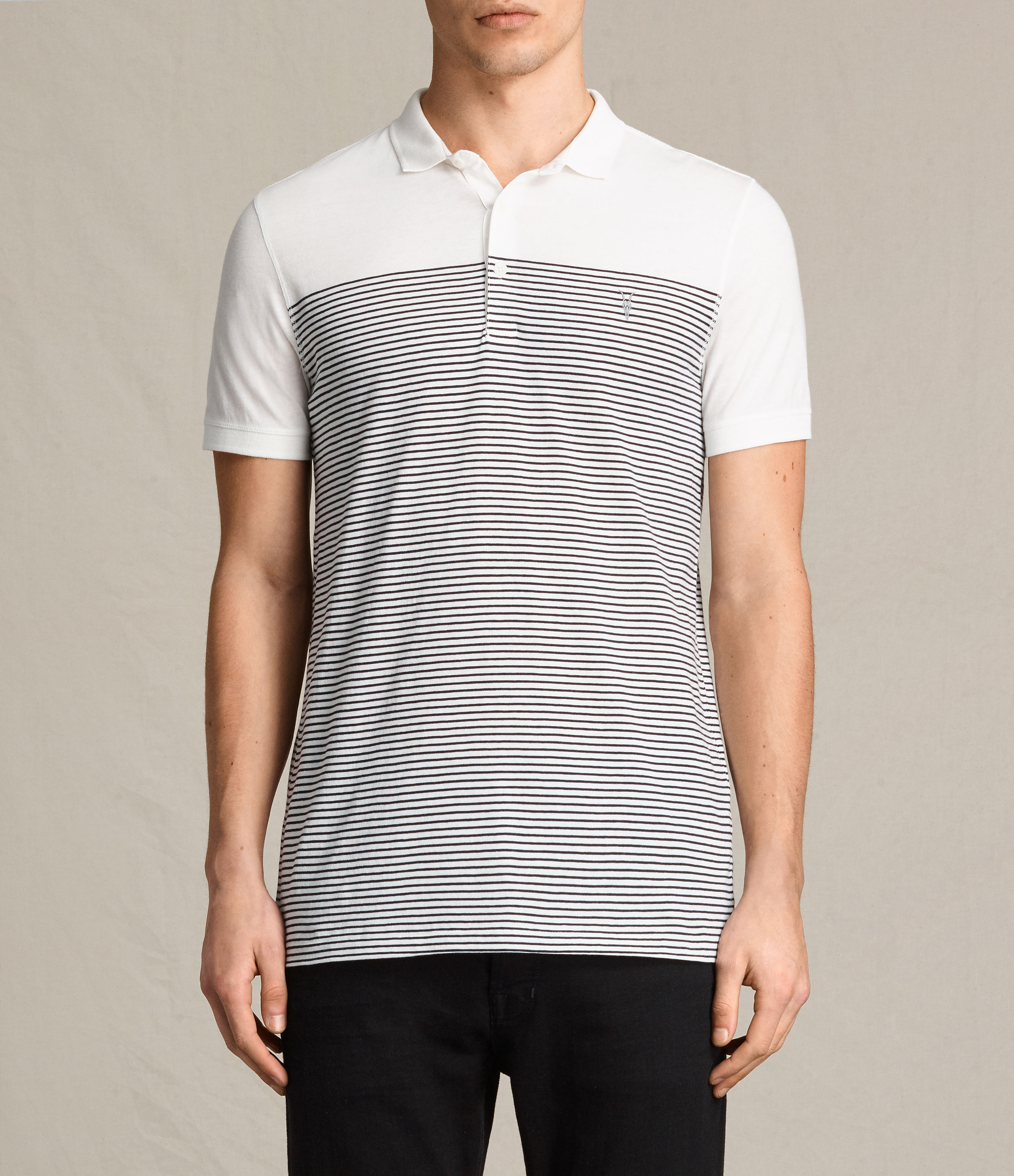 AllSaints Chalk White/Ink Breton Tonic Polo Shirt