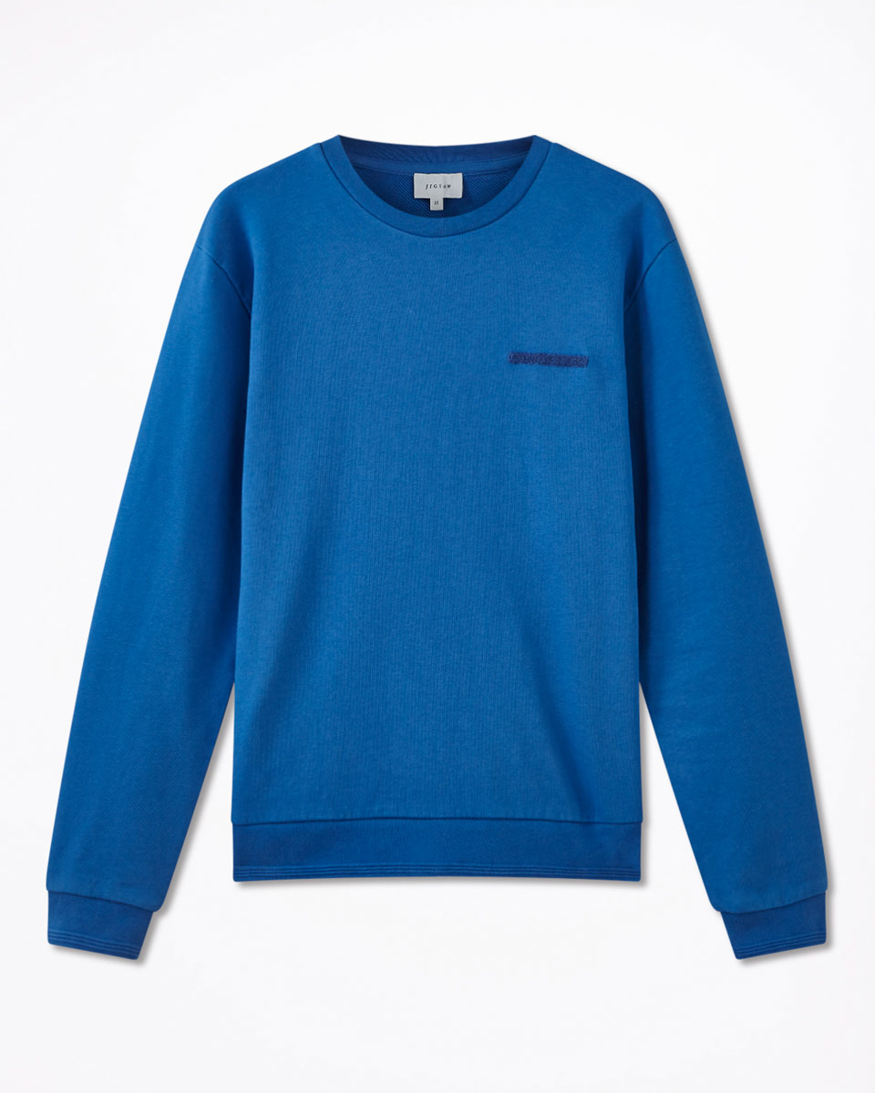 Jigsaw Bright Blue Towelling Detail Sweater