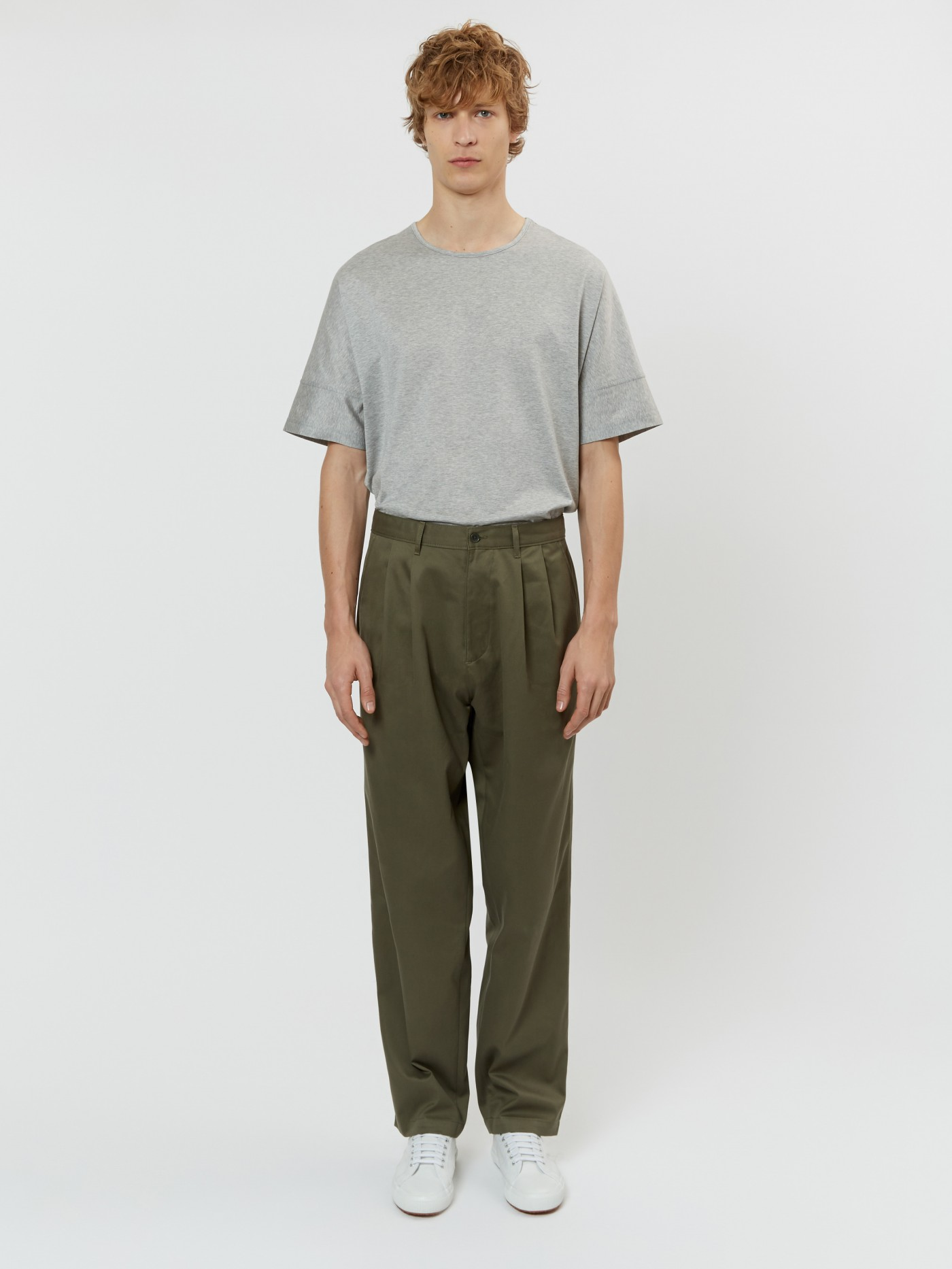E. Tautz Army Green Pleated Chino