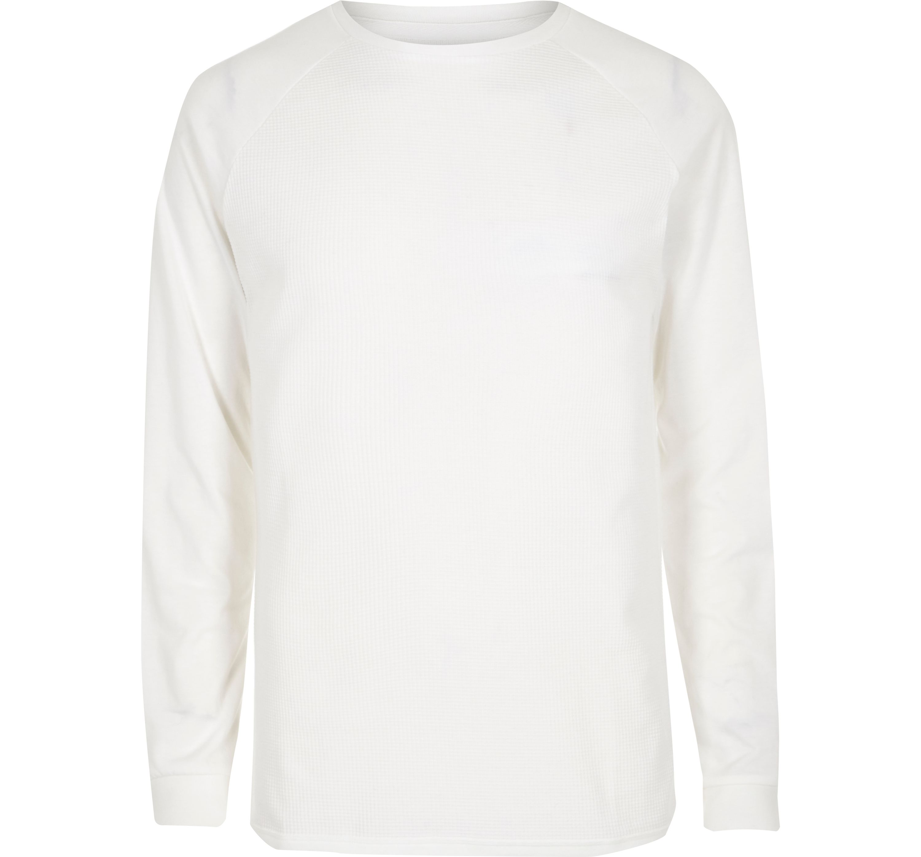 River Island Mens White waffle long sleeve raglan T-shirt