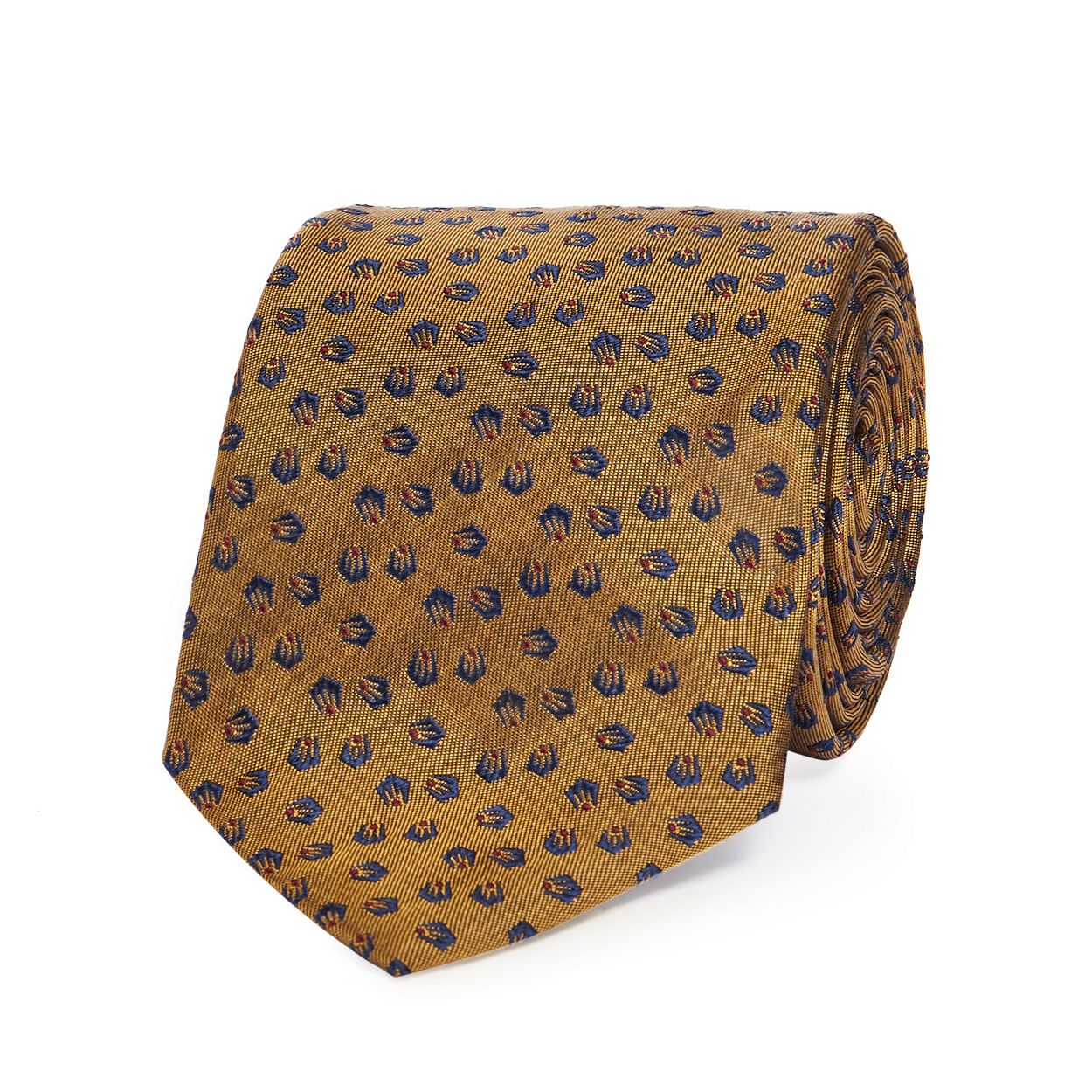 Hammond & Co. by Patrick Grant Gold textured patterned silk tie