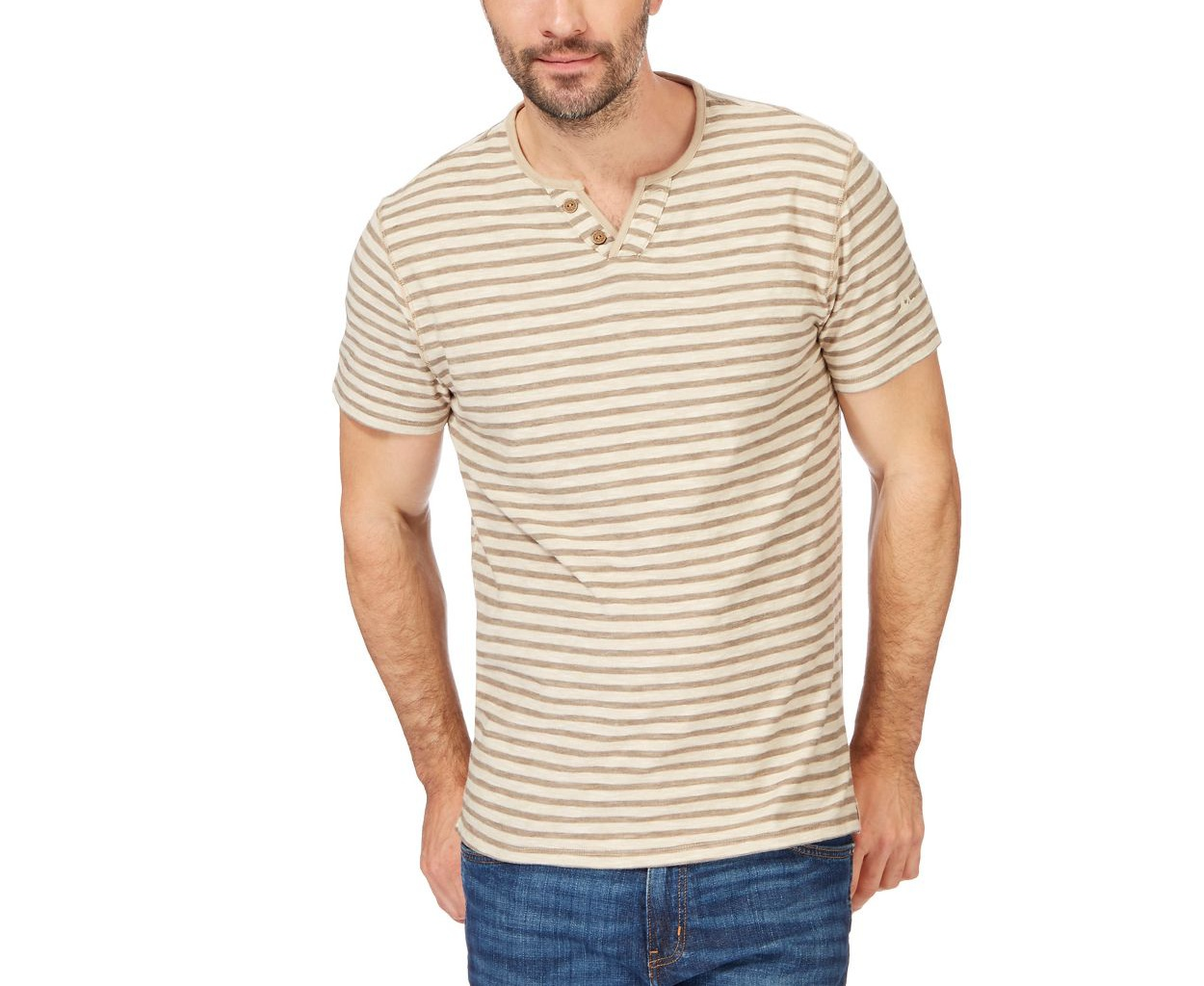 Mantaray Natural Big and tall beige striped y neck t-shirt