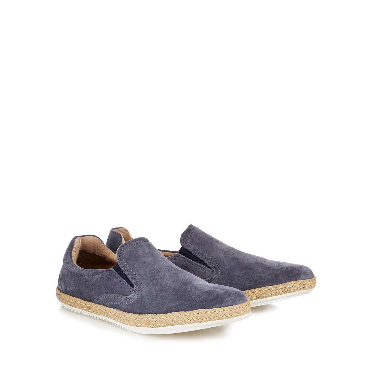 Red Herring Grey Dark grey suede 'Racer' espadrille shoes