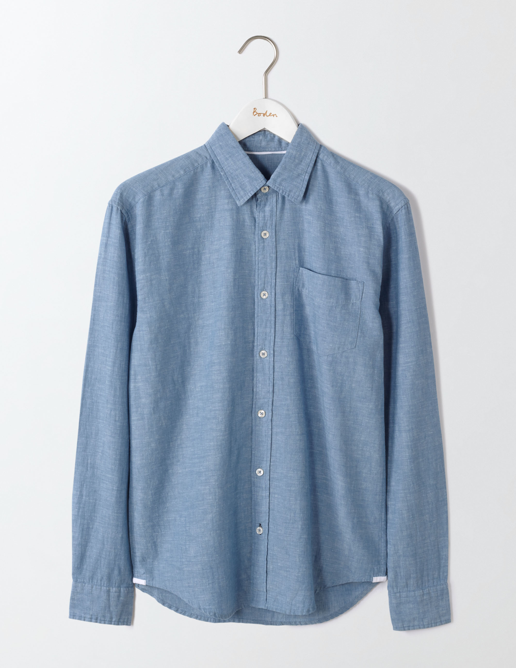 Boden Washed Navy Linen Cotton Shirt