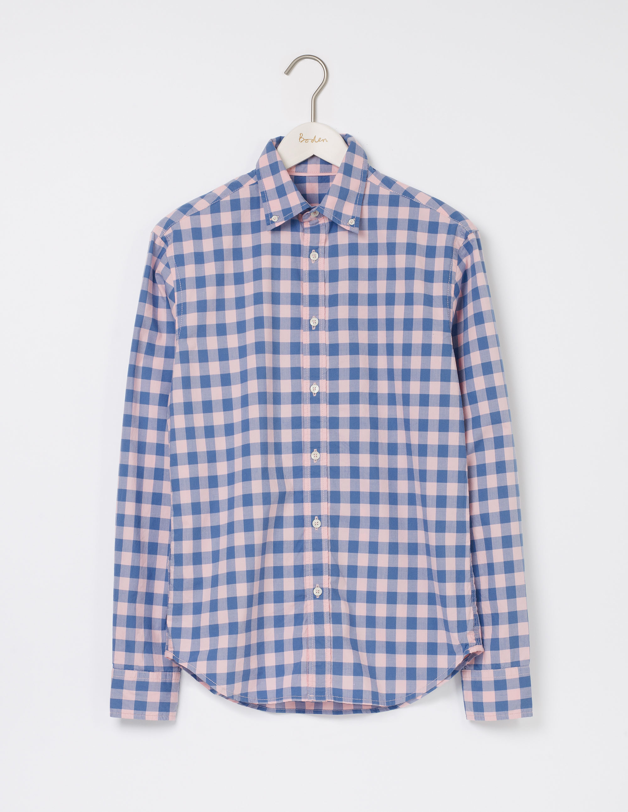 Boden Soft Pink Gingham Slim Fit Garment Dye Shirt
