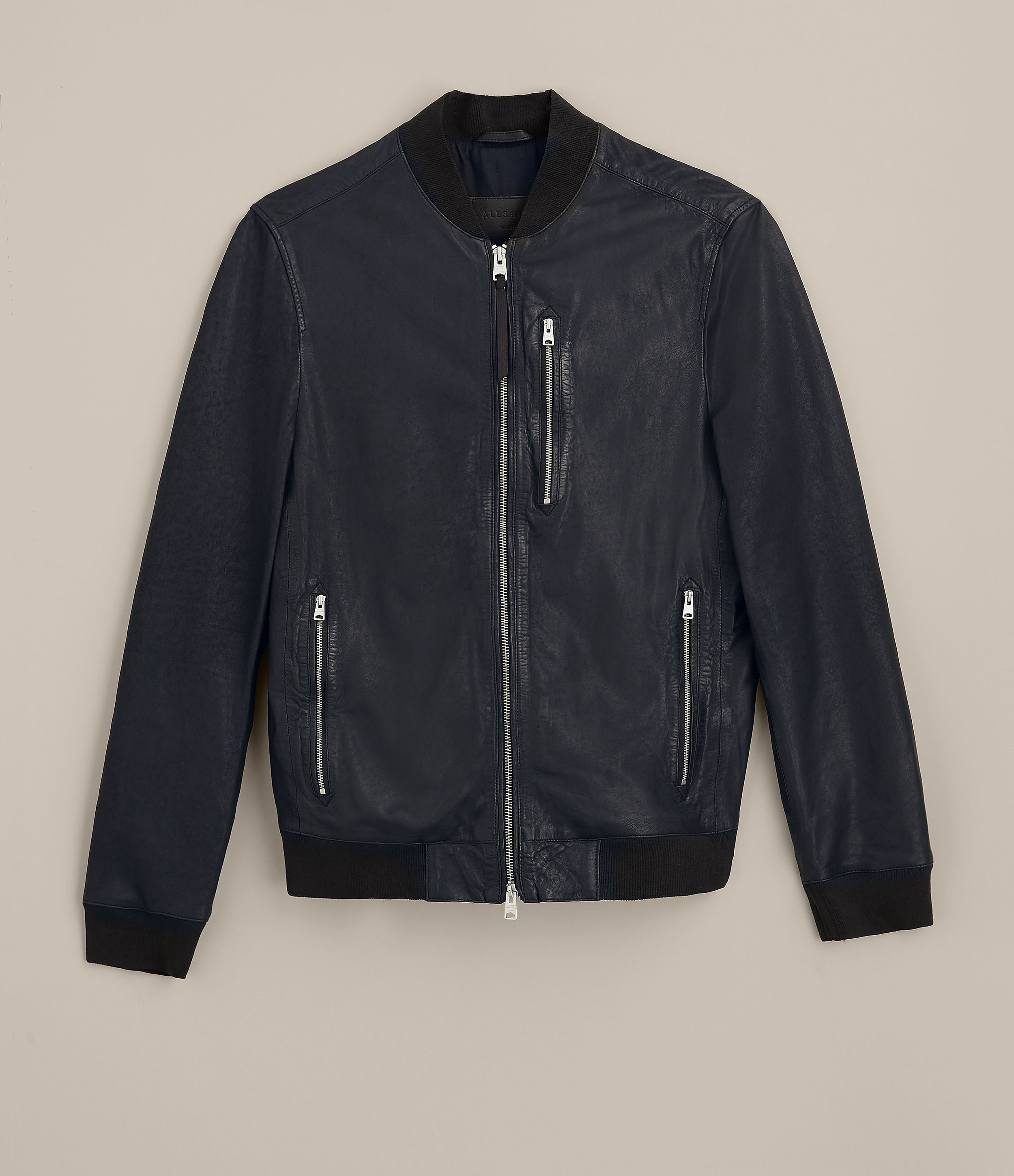 AllSaints Ink Navy Kino Leather Bomber Jacket
