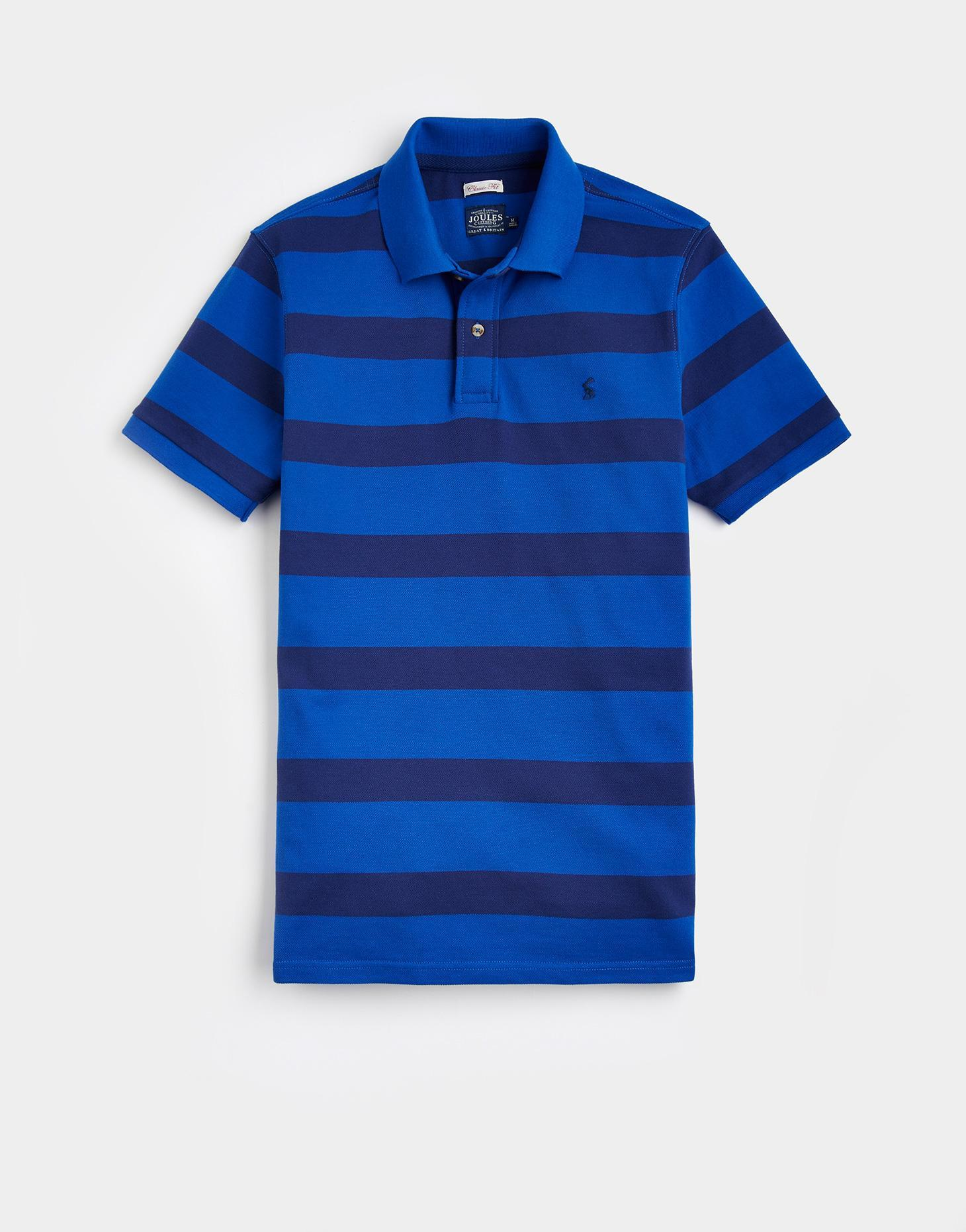 Joules Bold Blue Stripe FILBERT Classic Fit Polo Shirt