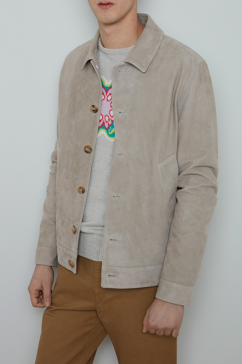 Richard James Jacket - Silver Grey Suede Blouson