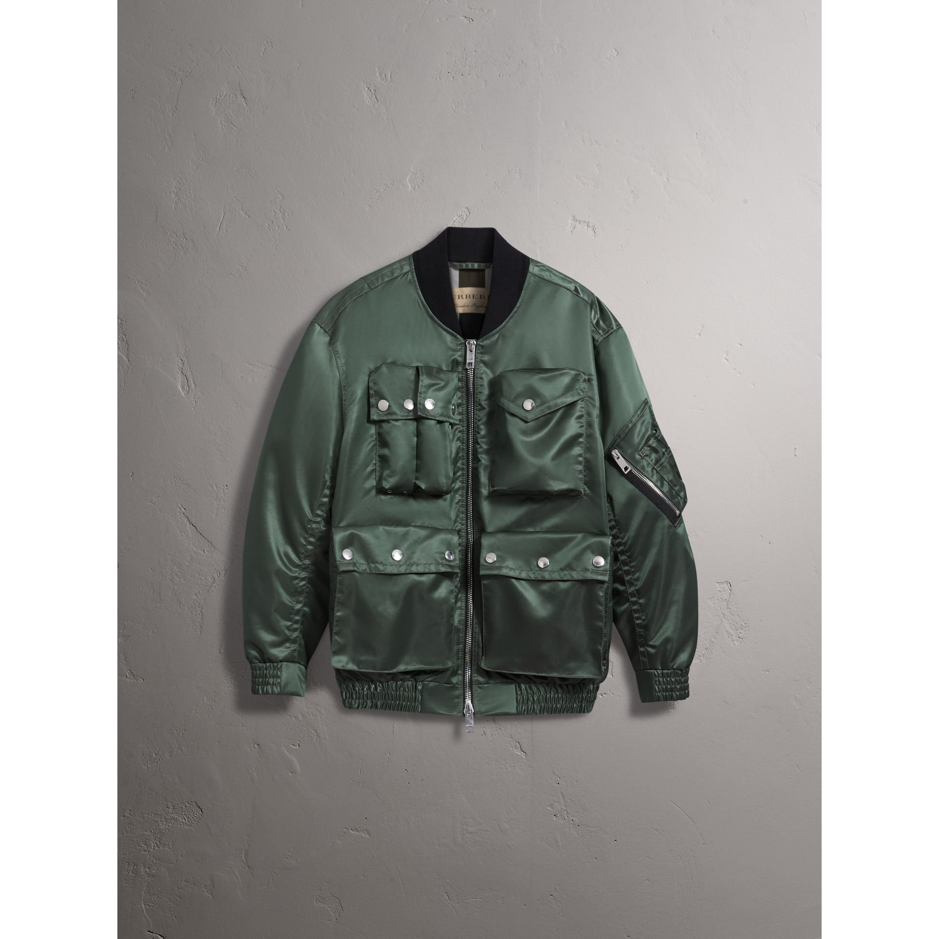 Burberry Storm Green Contrast Collar Lightweight Flying Jacket