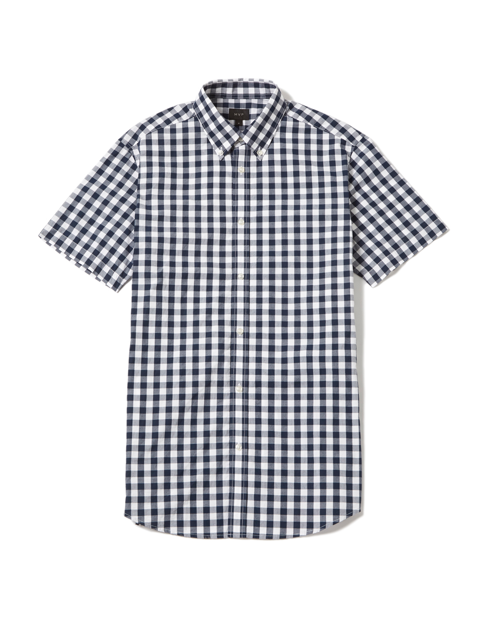 Navy/White MVP Musbury Gingham Short Sleeve Shirt - Navy