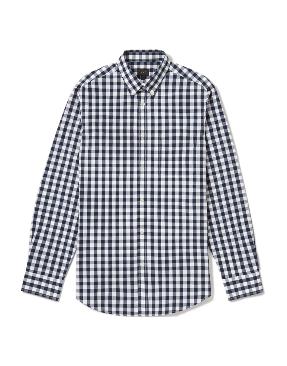 MVP Navy/White Morris Gingham Slim Fit Shirt - Navy