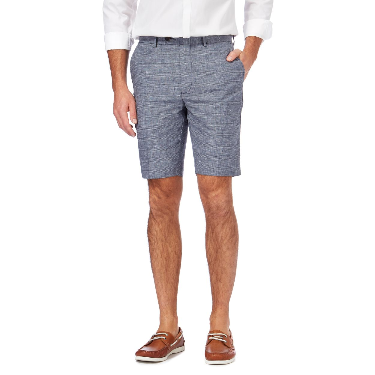 Hammond & Co. by Patrick Grant Blue Big and tall grey linen blend checked shorts