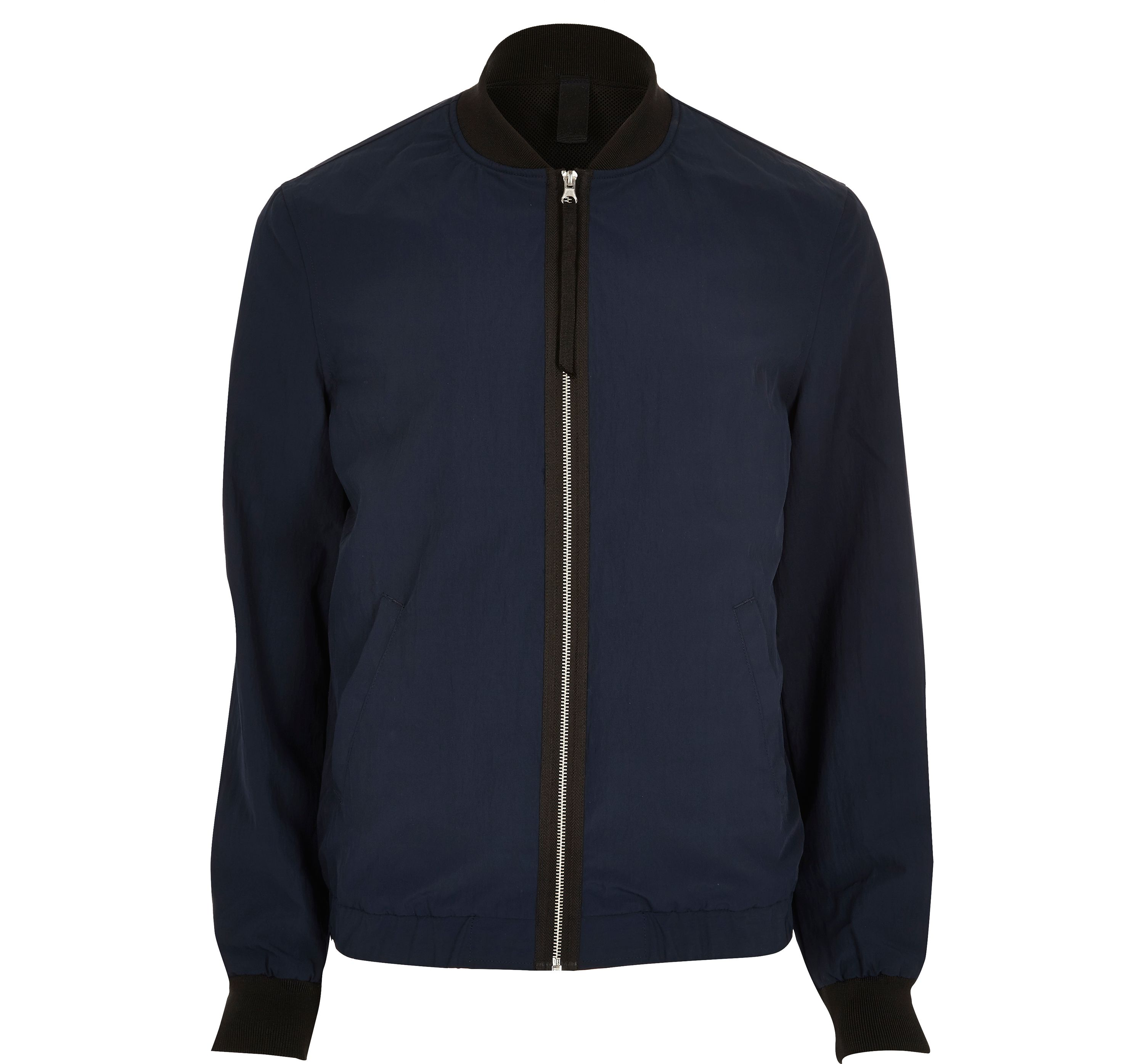 River Island Mens Navy contrast tape bomber jacket