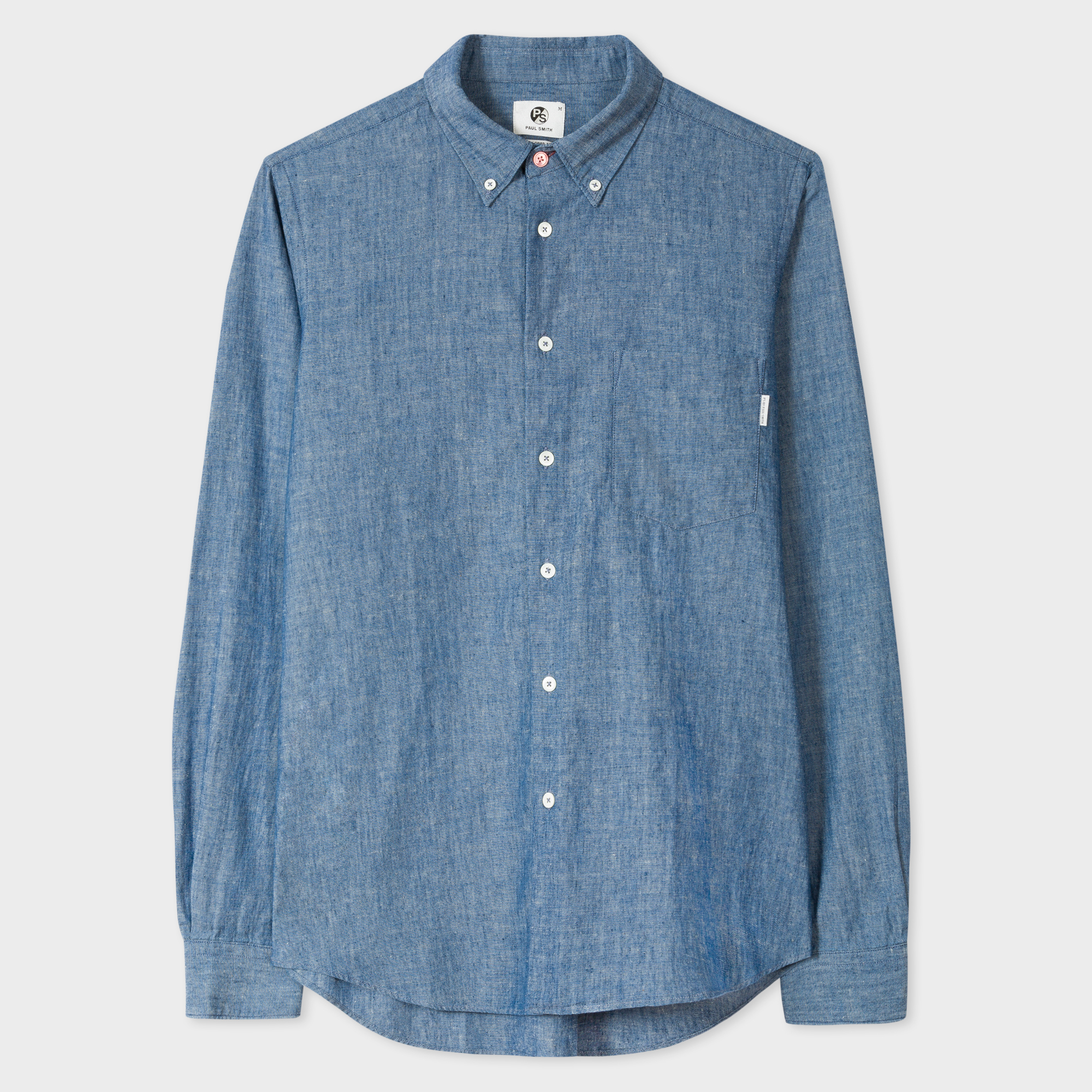 Paul Smith Men's Tailored-Fit Cotton-Linen Dark Blue Chambray Button-Down Shirt
