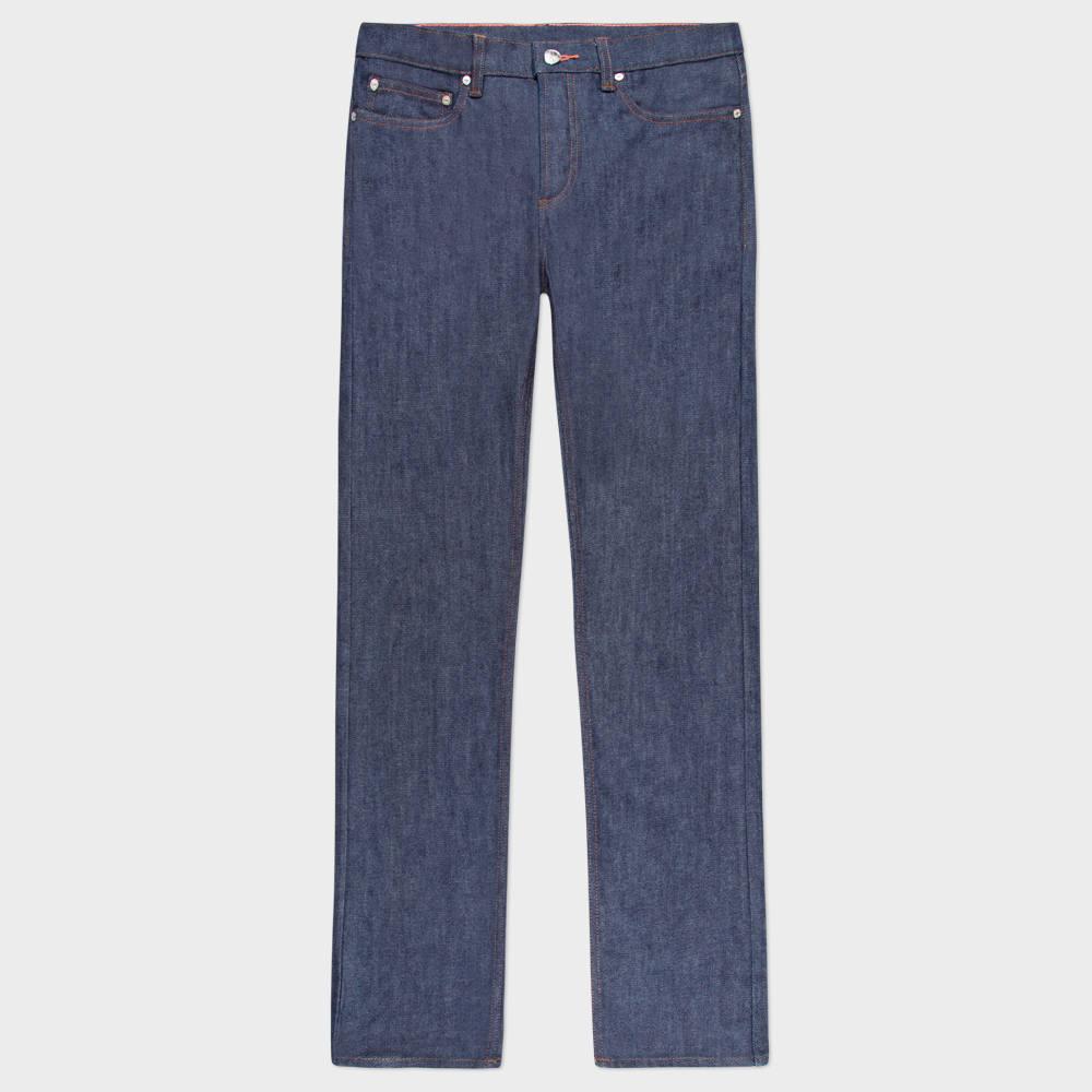 Paul Smith Men's Tapered-Fit Raw Denim Jeans With 'Peace' Stitch Detail