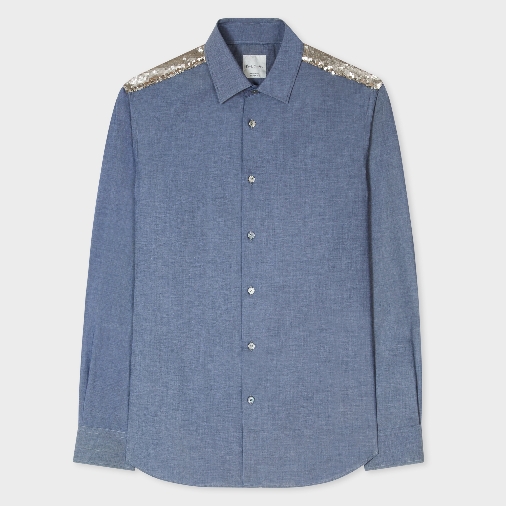 Paul Smith Men's Slim-Fit Blue Cotton Shirt With Sequined Shoulder Panel