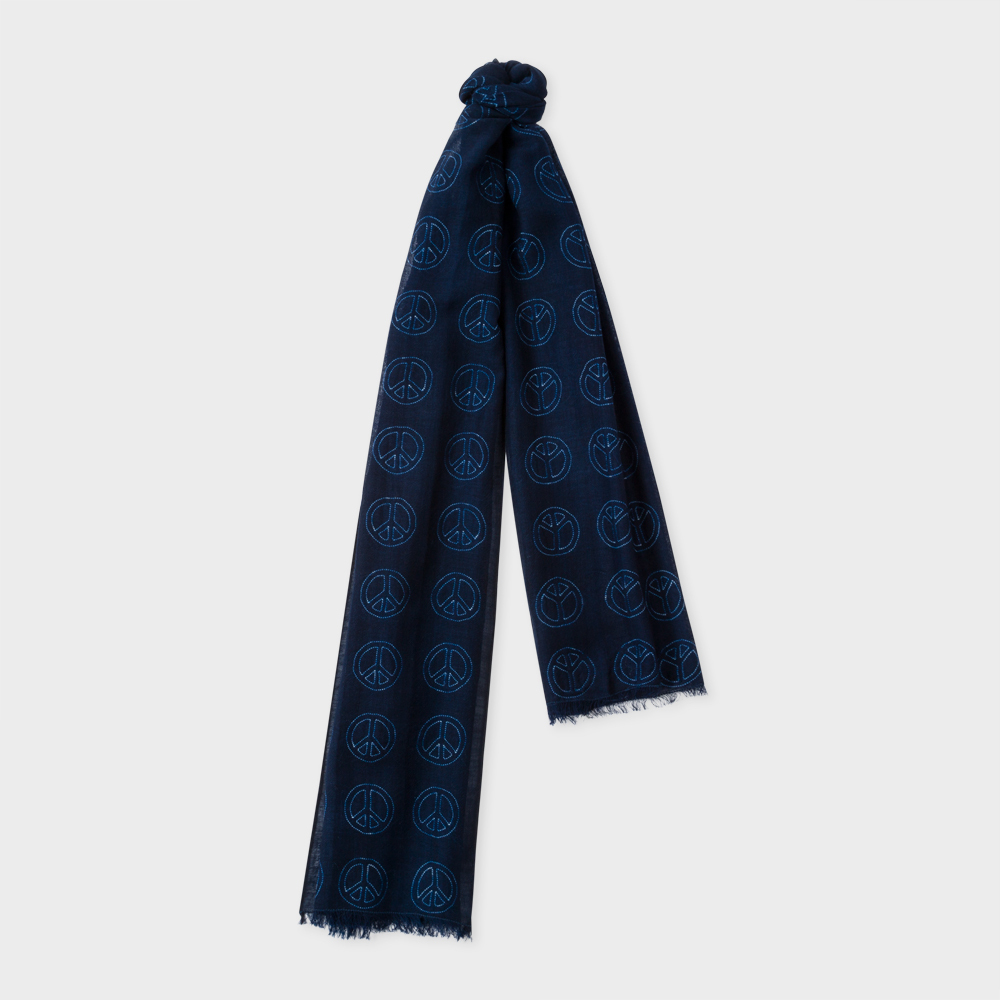 Paul Smith Men's Navy 'Peace Sign' Wool Scarf
