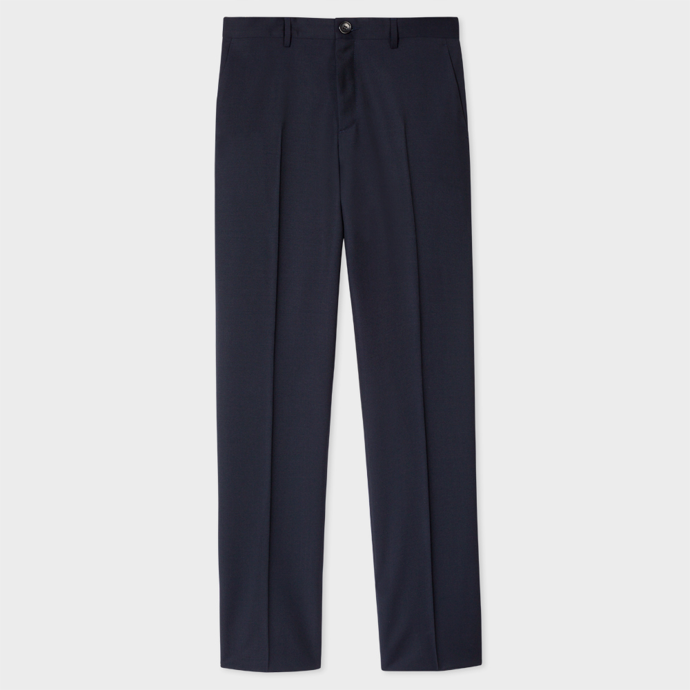 Paul Smith Men's Mid-Fit Navy Wool-Mohair Trousers