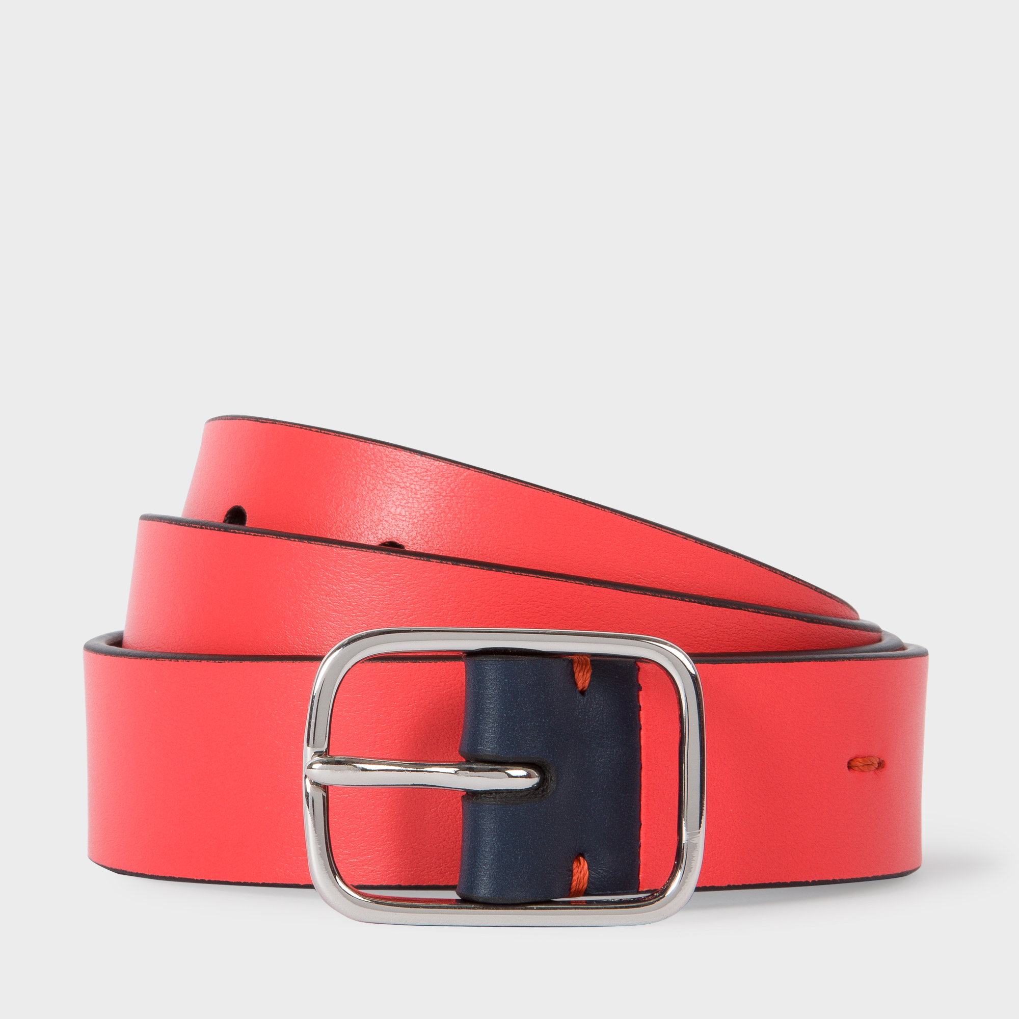 Paul Smith Men's Coral Leather Belt With Contrast End